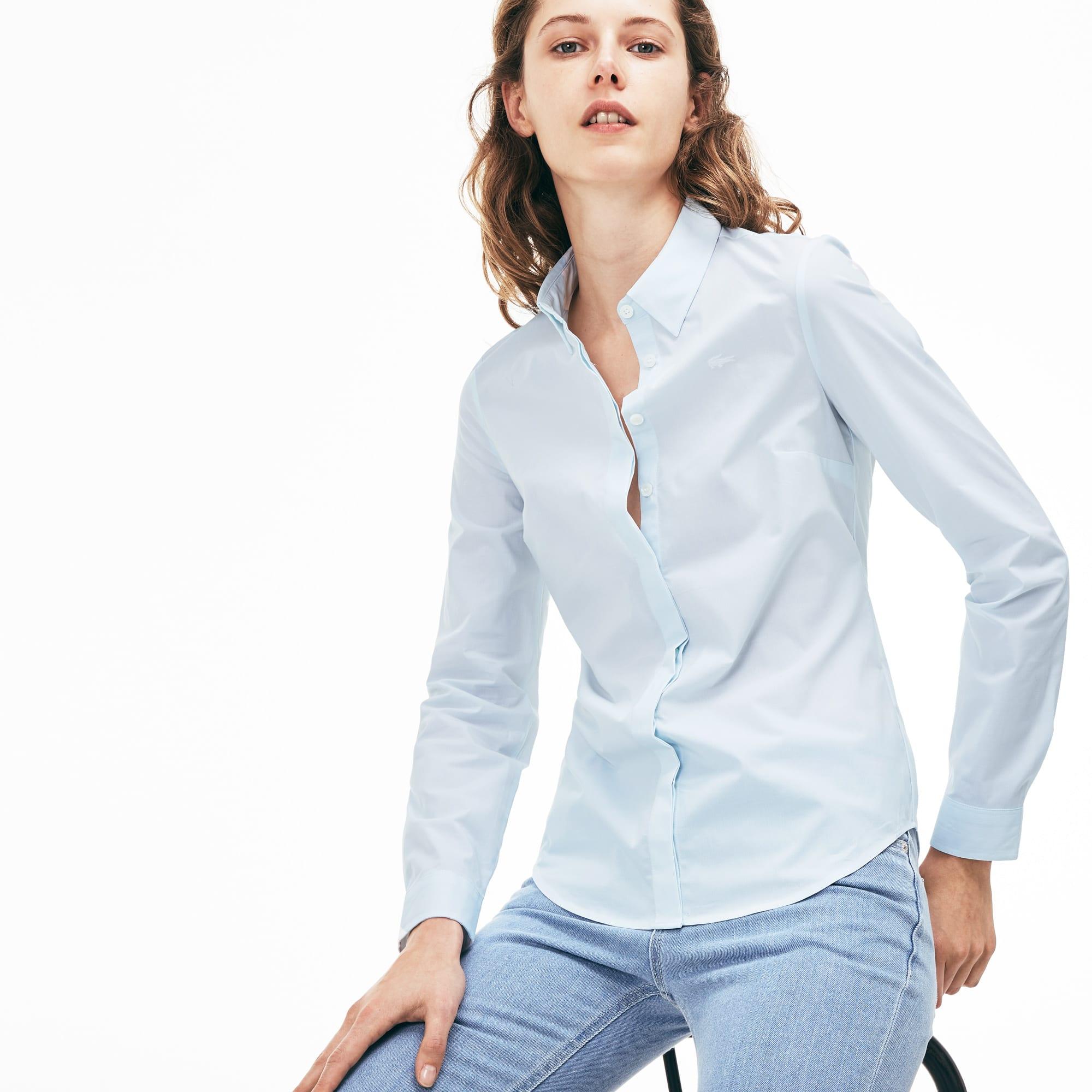 Women's Slim Fit Striped Stretch Cotton Poplin Shirt