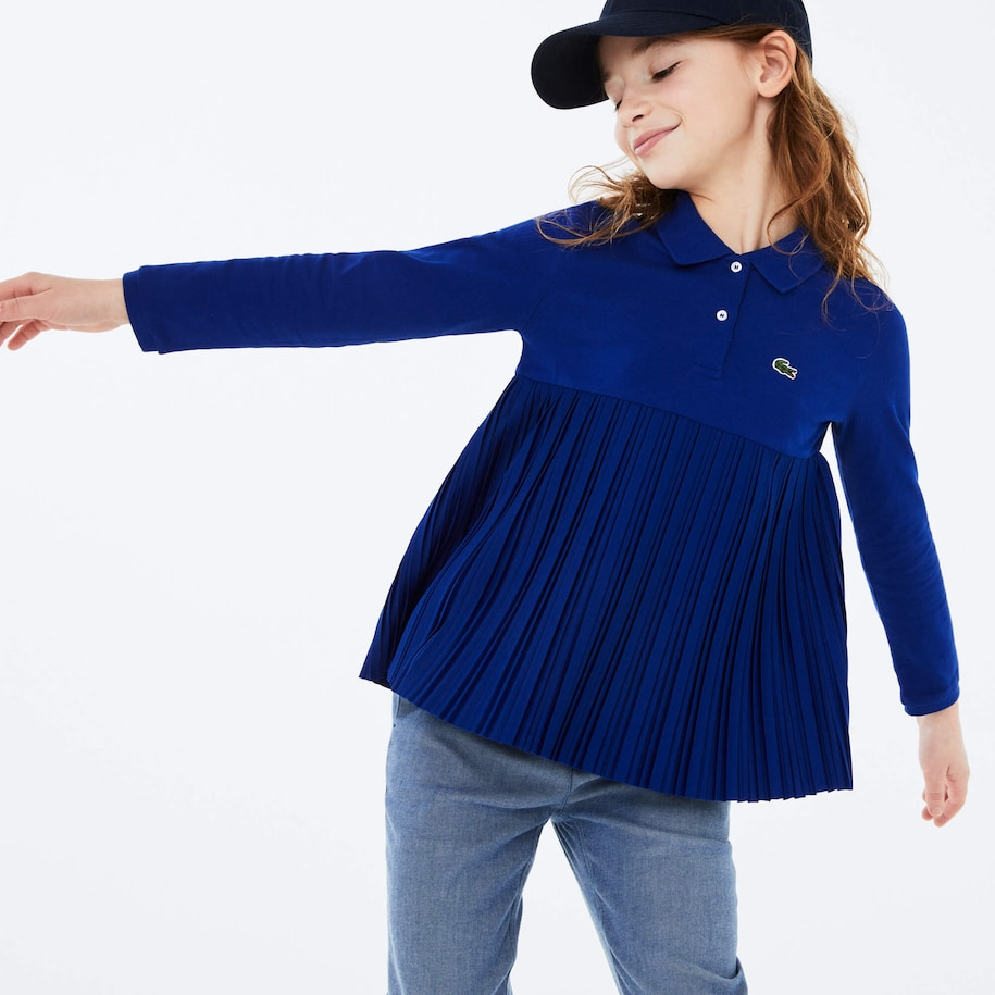 Girls' Lacoste Pleated Cotton Polo Shirt