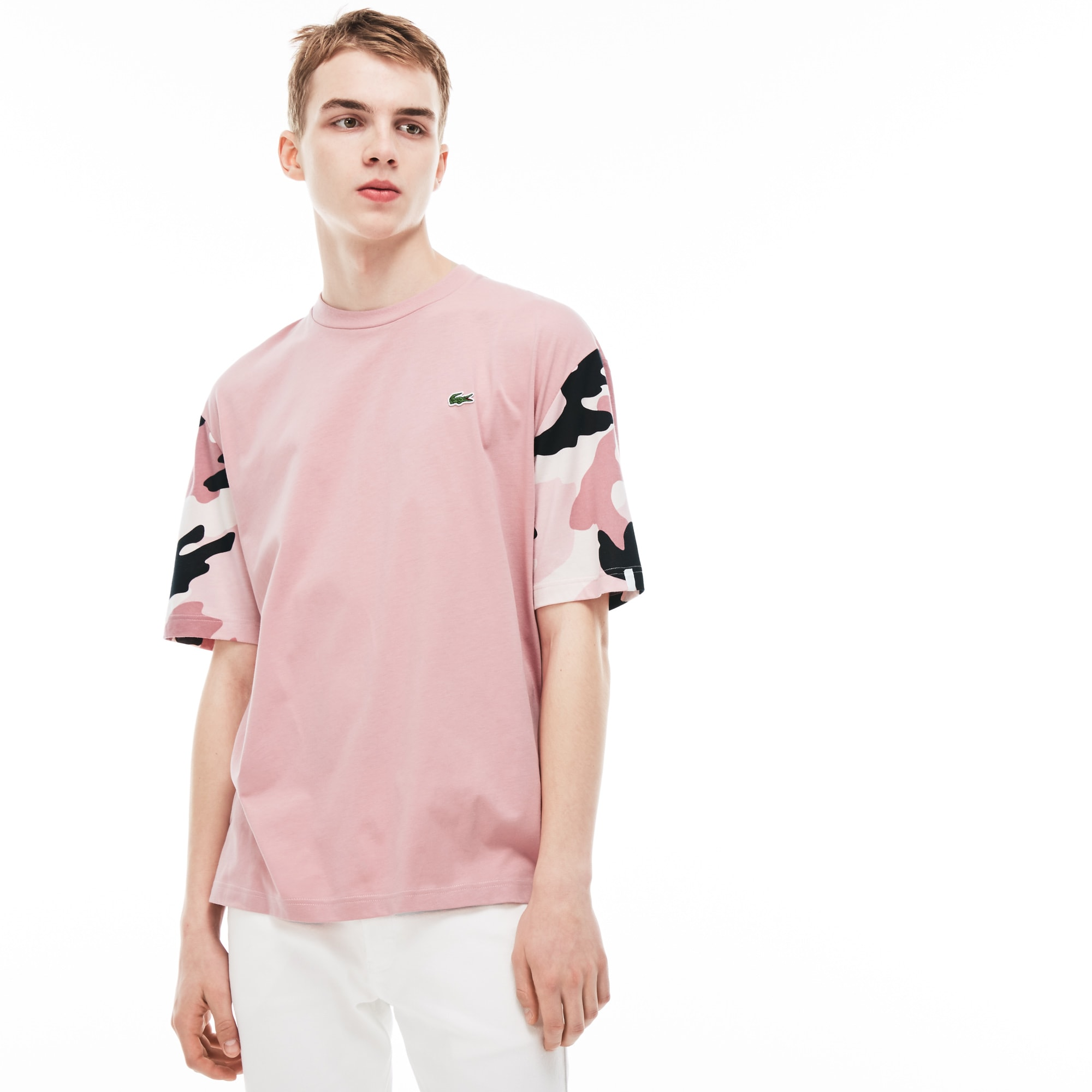 Men's Lacoste LIVE Crew Neck Print Sleeves Jersey T-shirt