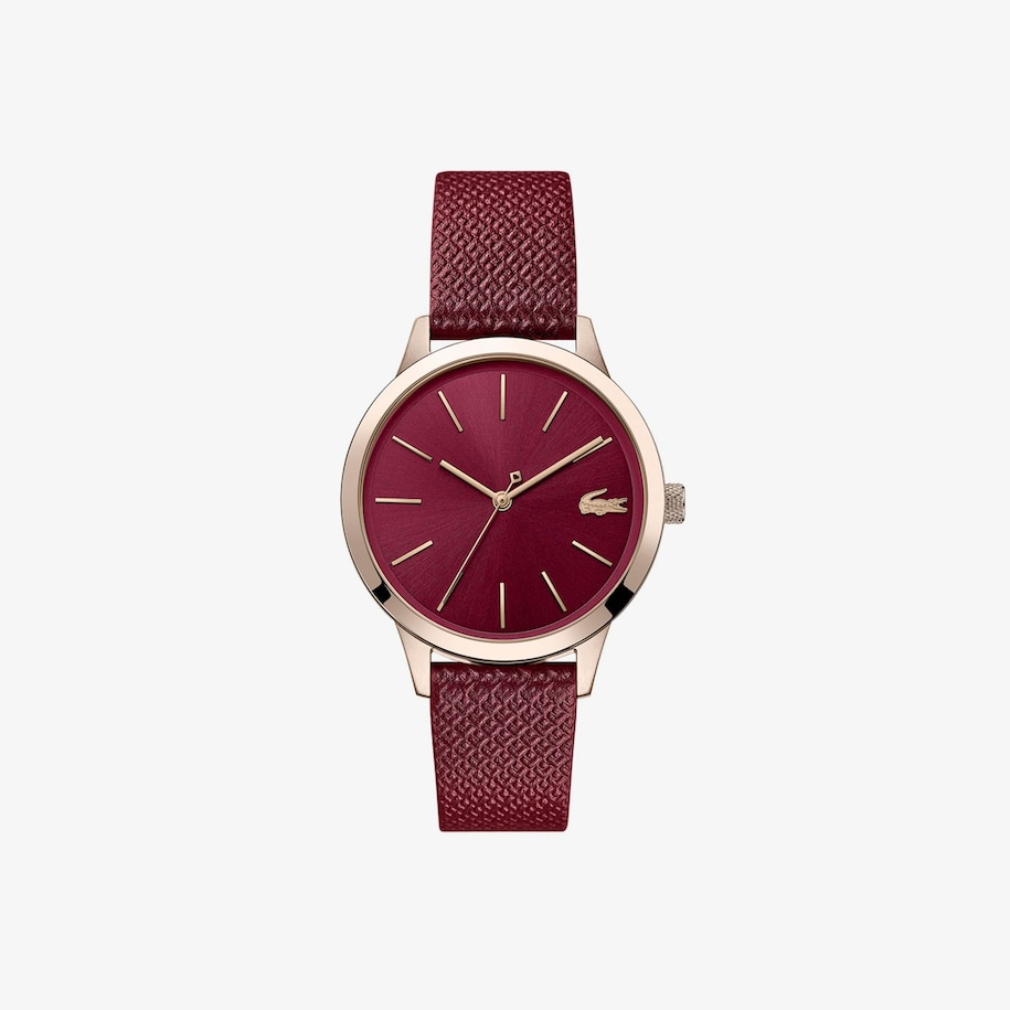 Ladies Lacoste 12.12 Premium Watch with Burgundy Leather Petit Piqué Strap