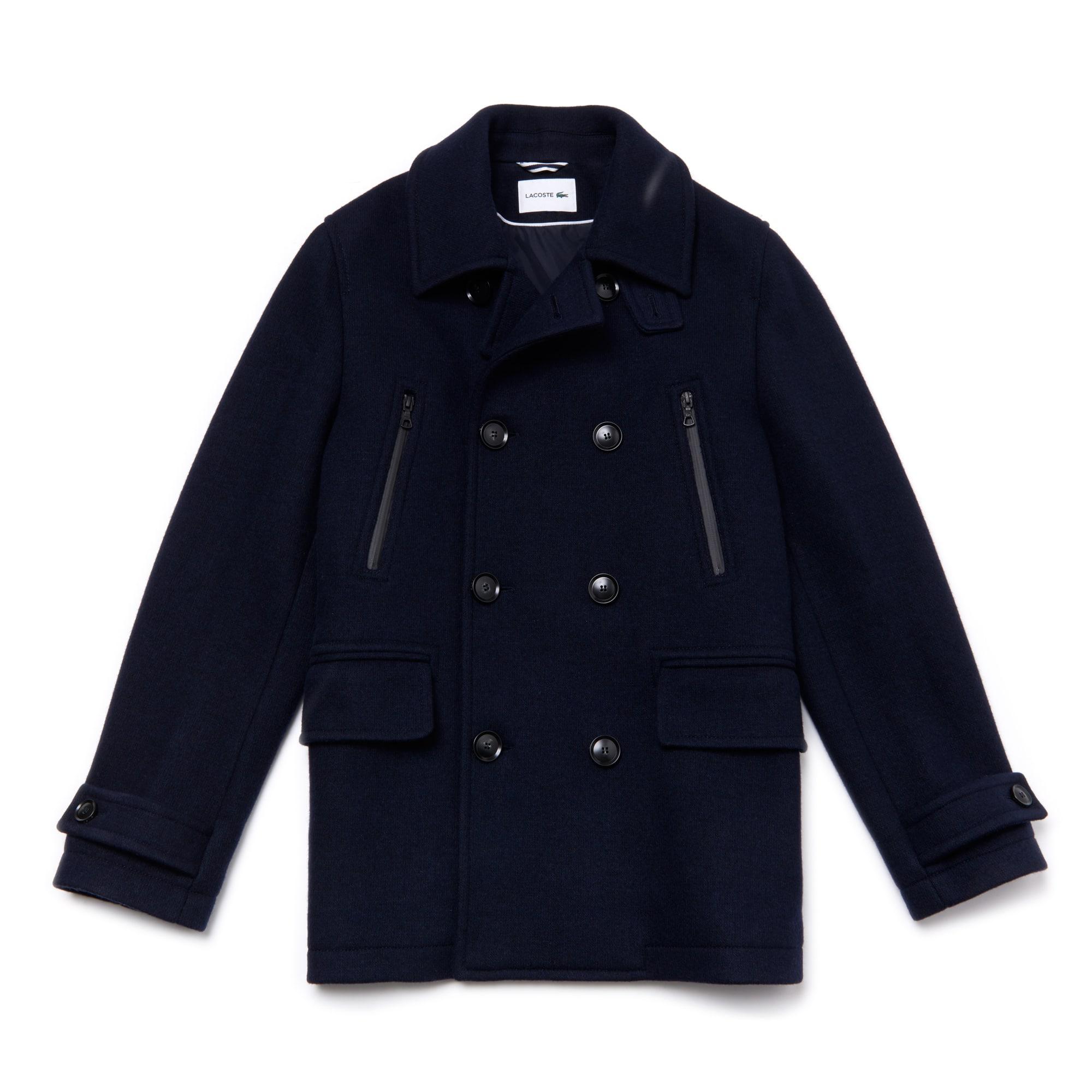 Men's Mid-Length Wool Jersey Pea Coat