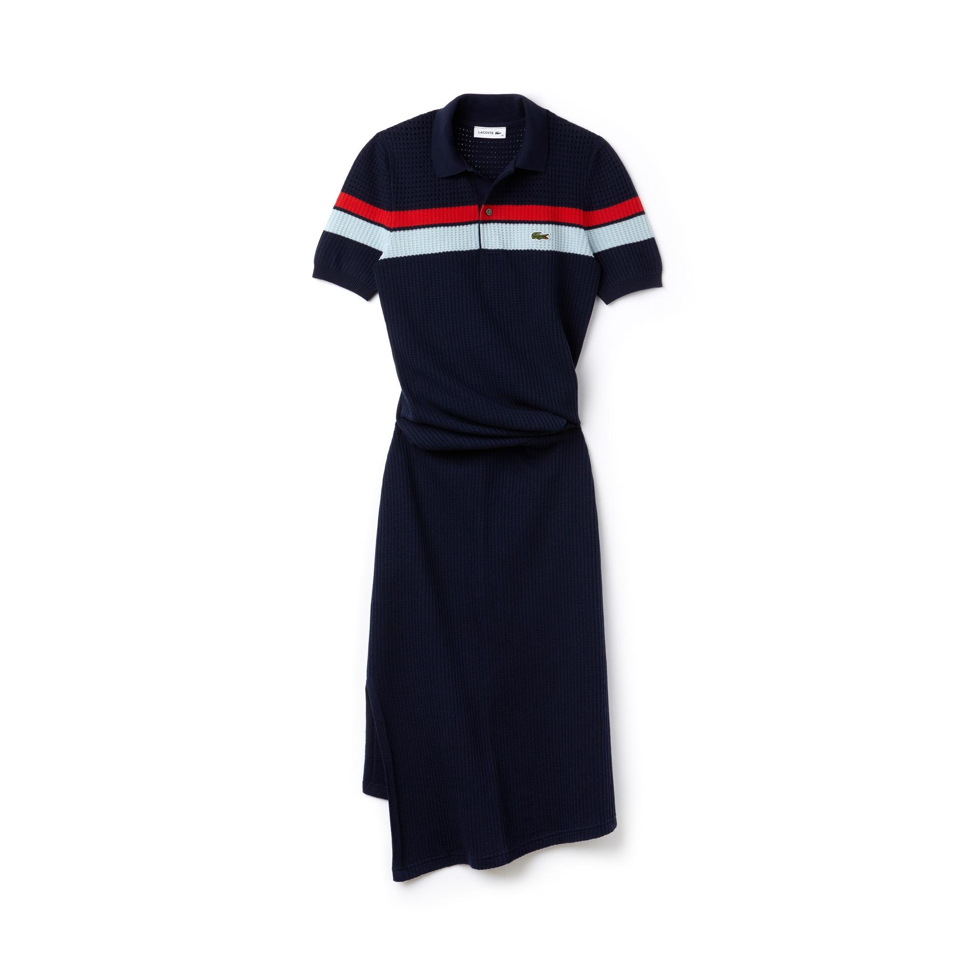 Women's Fashion Show Striped Cotton Knit Twisted Polo Dress
