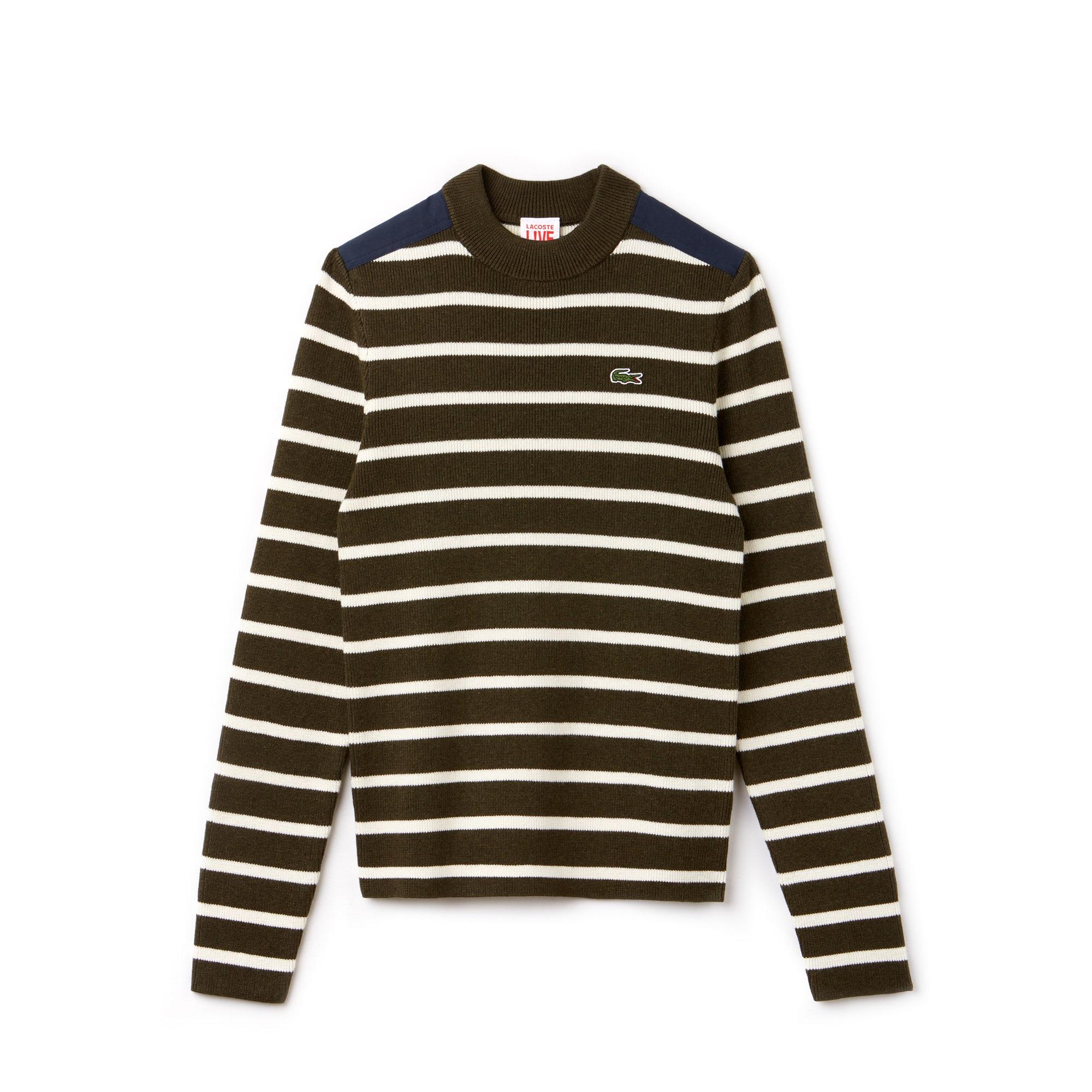 Men's Lacoste LIVE Crew Neck Striped Interlock Sweater