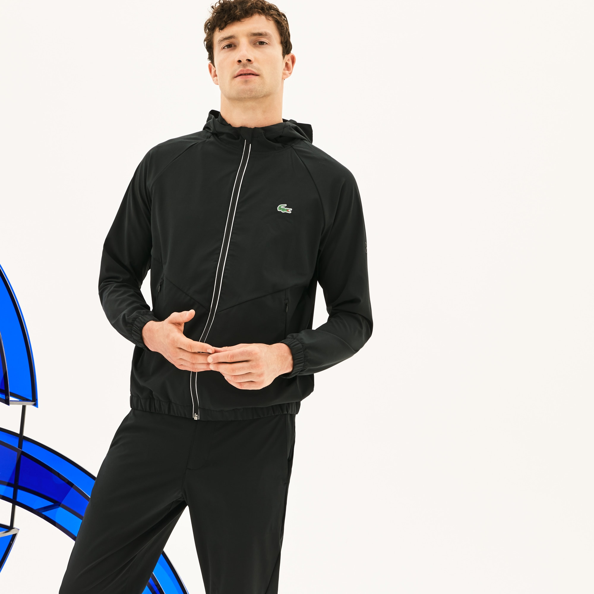Men's Lacoste SPORT NOVAK DJOKOVIC-OFF COURT PREMIUM COLLECTION Hooded Stretch Technical Midlayer Jacket