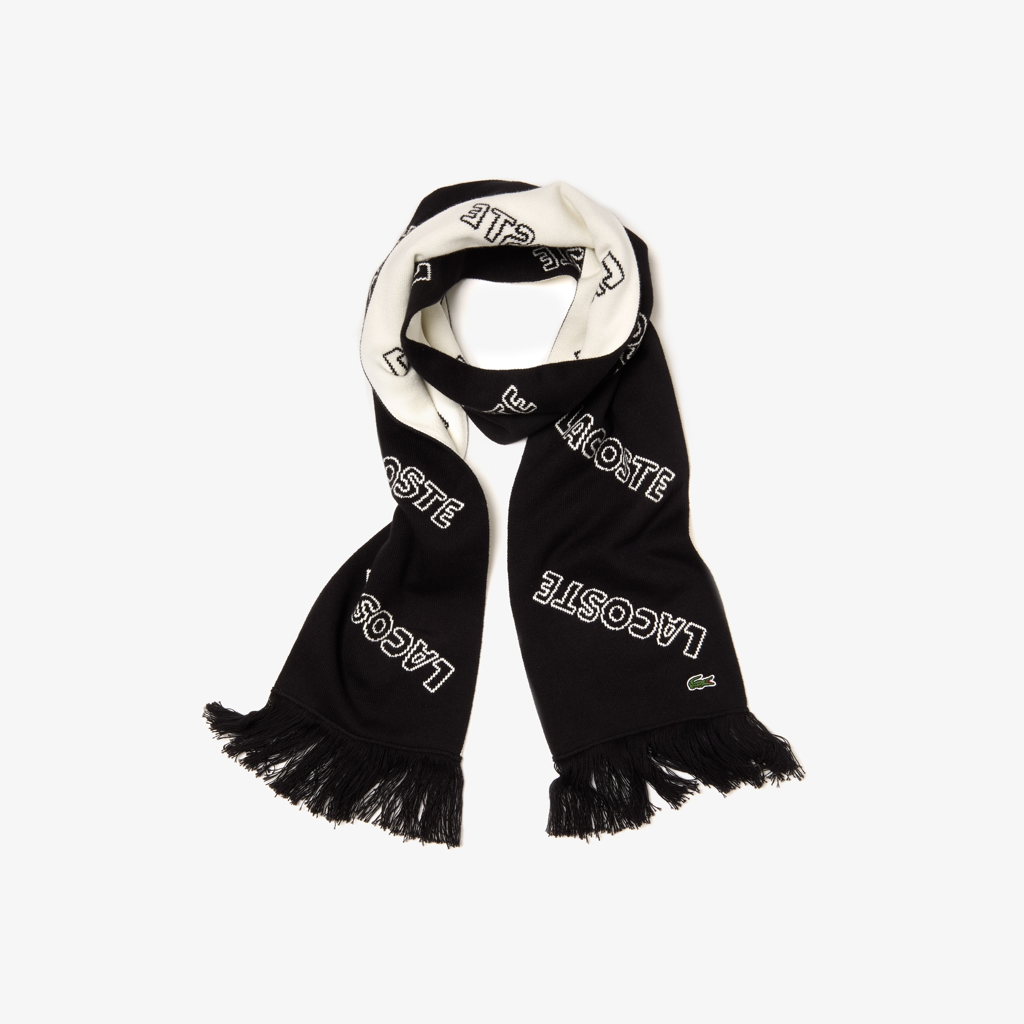 Men's Lacoste LIVE Lettering Cashmere And Cotton Scarf