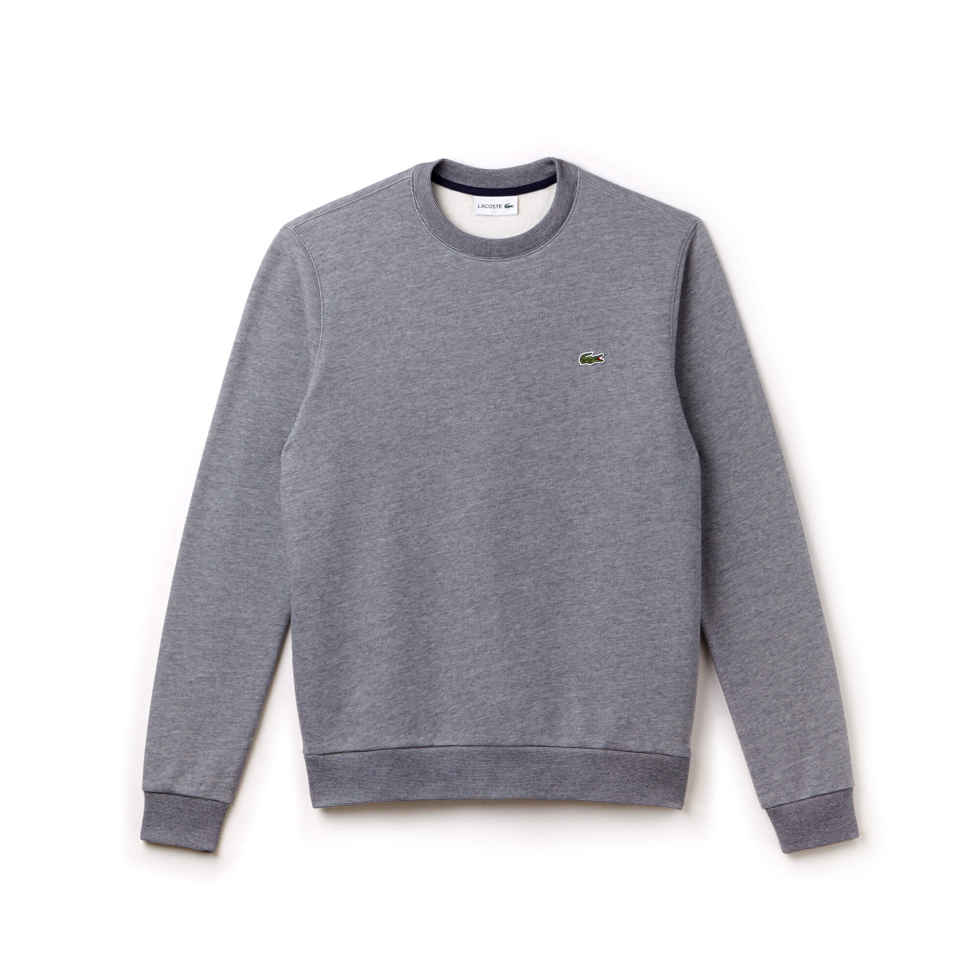 Men's Crew Neck Striped Brushed Fleece Sweatshirt