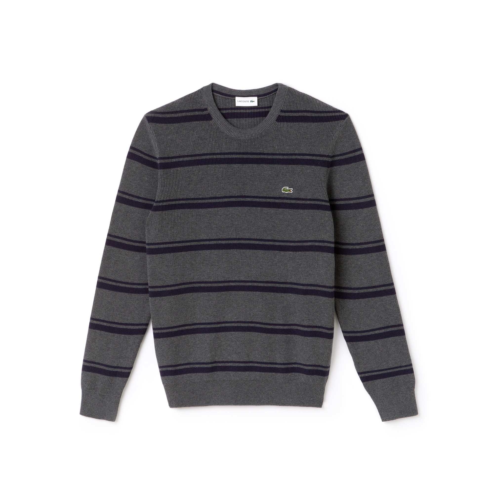 Men's Crew Neck Striped Ribbed Cotton Sweater