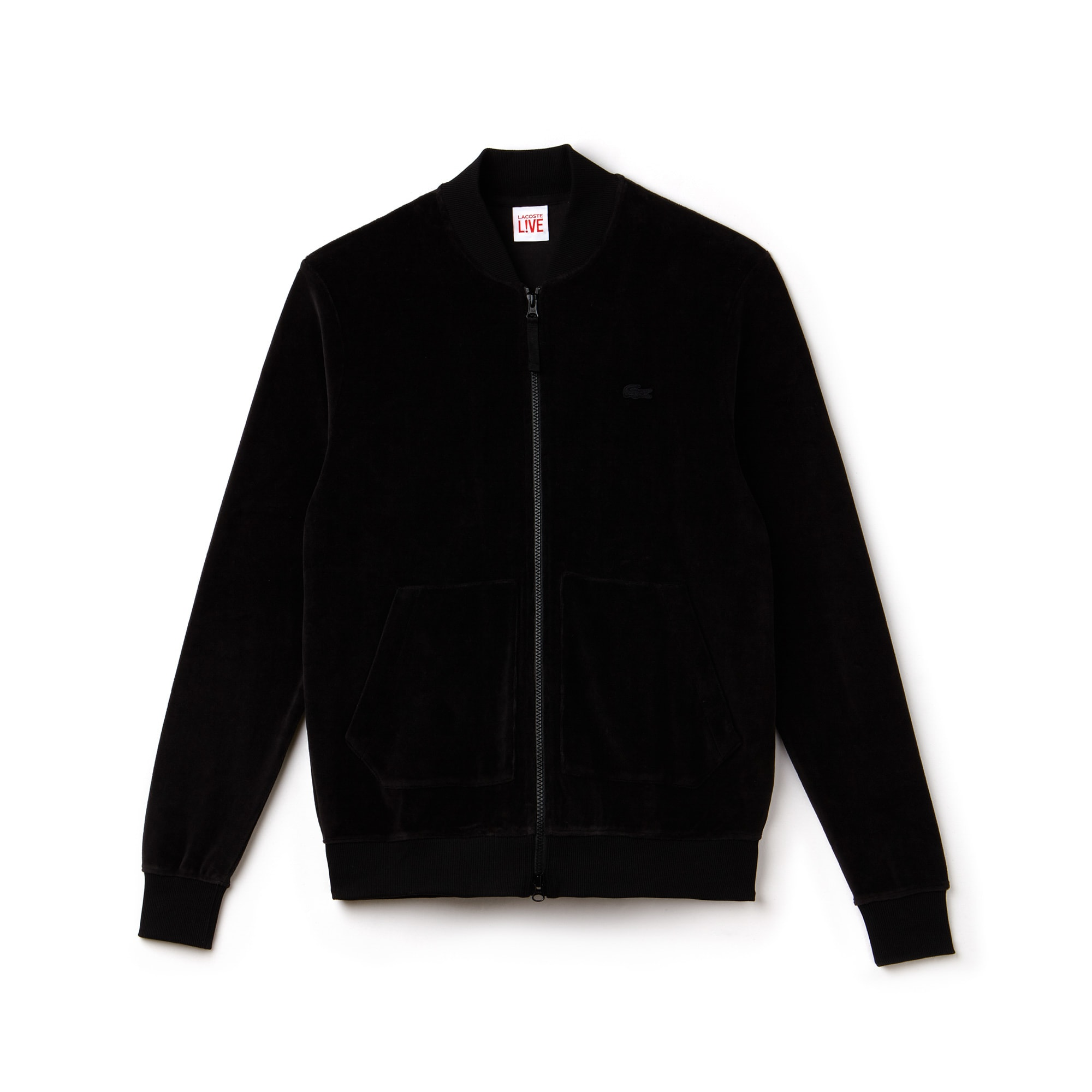 Men's Lacoste LIVE Bomber Collar Velour Zip Sweatshirt