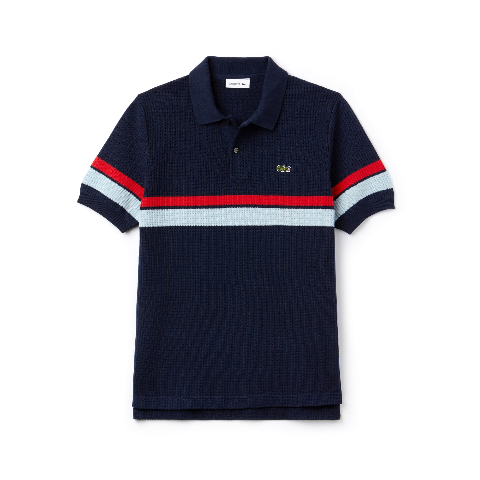 Men's Lacoste Fashion Show Hemstitched Colorblock Cotton Knit Polo Shirt