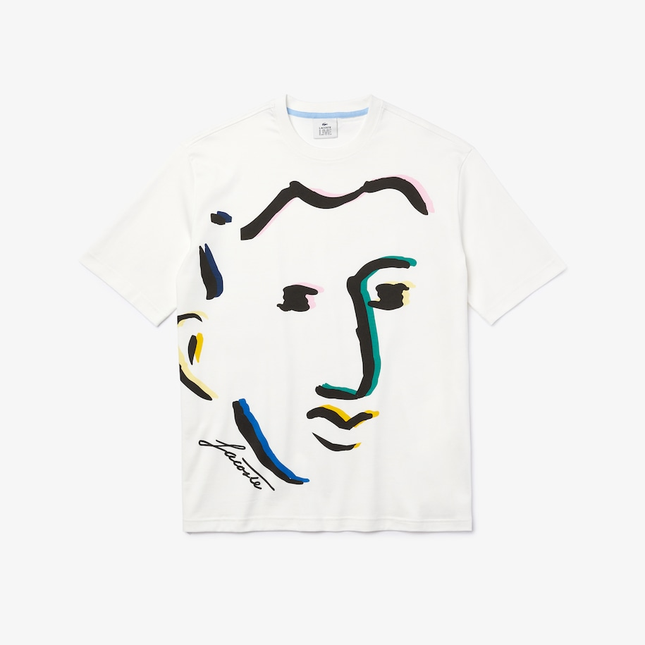 Unisex Lacoste LIVE Face Print Cotton T-shirt