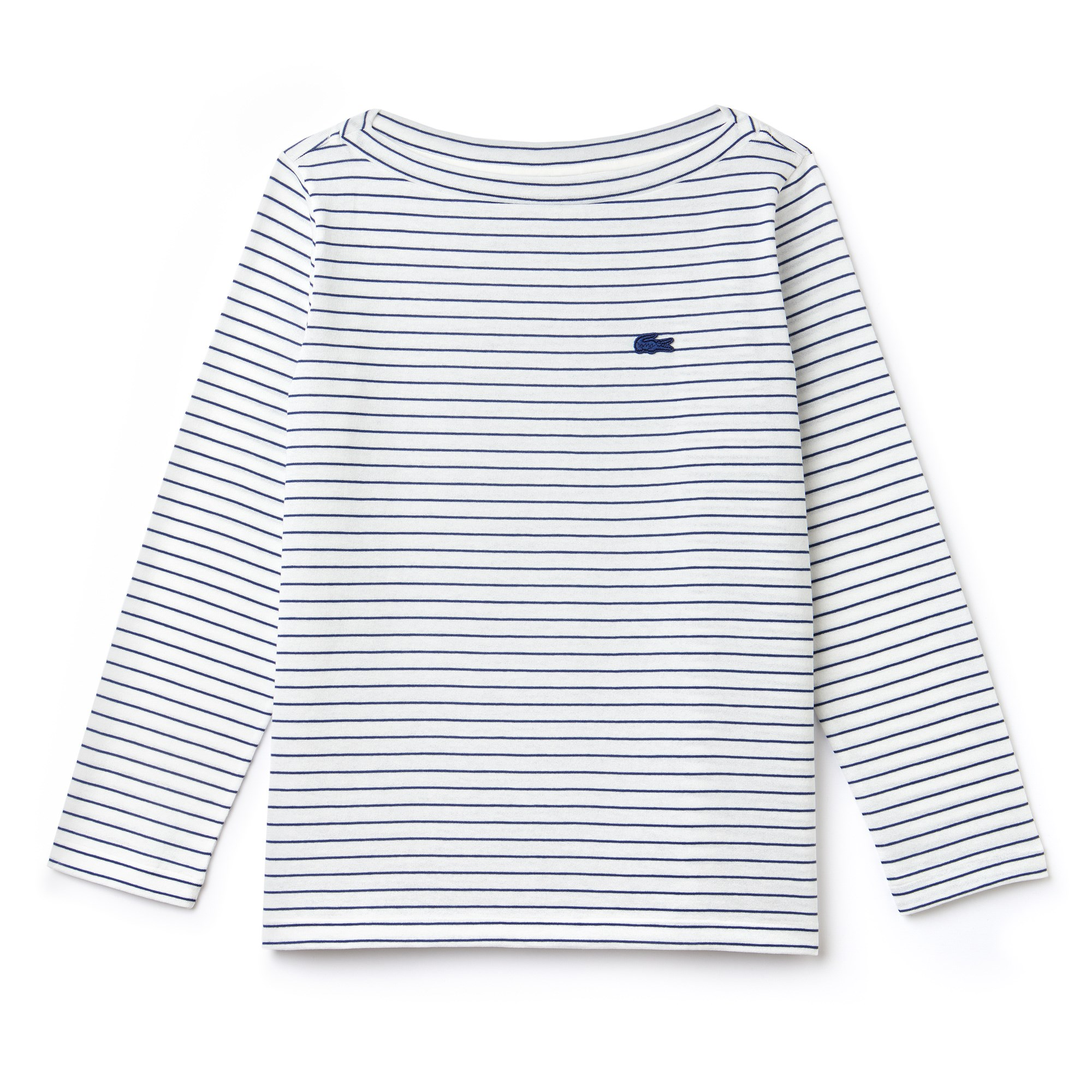 Women's Boat Neck Striped Cotton Jersey Nautical Shirt