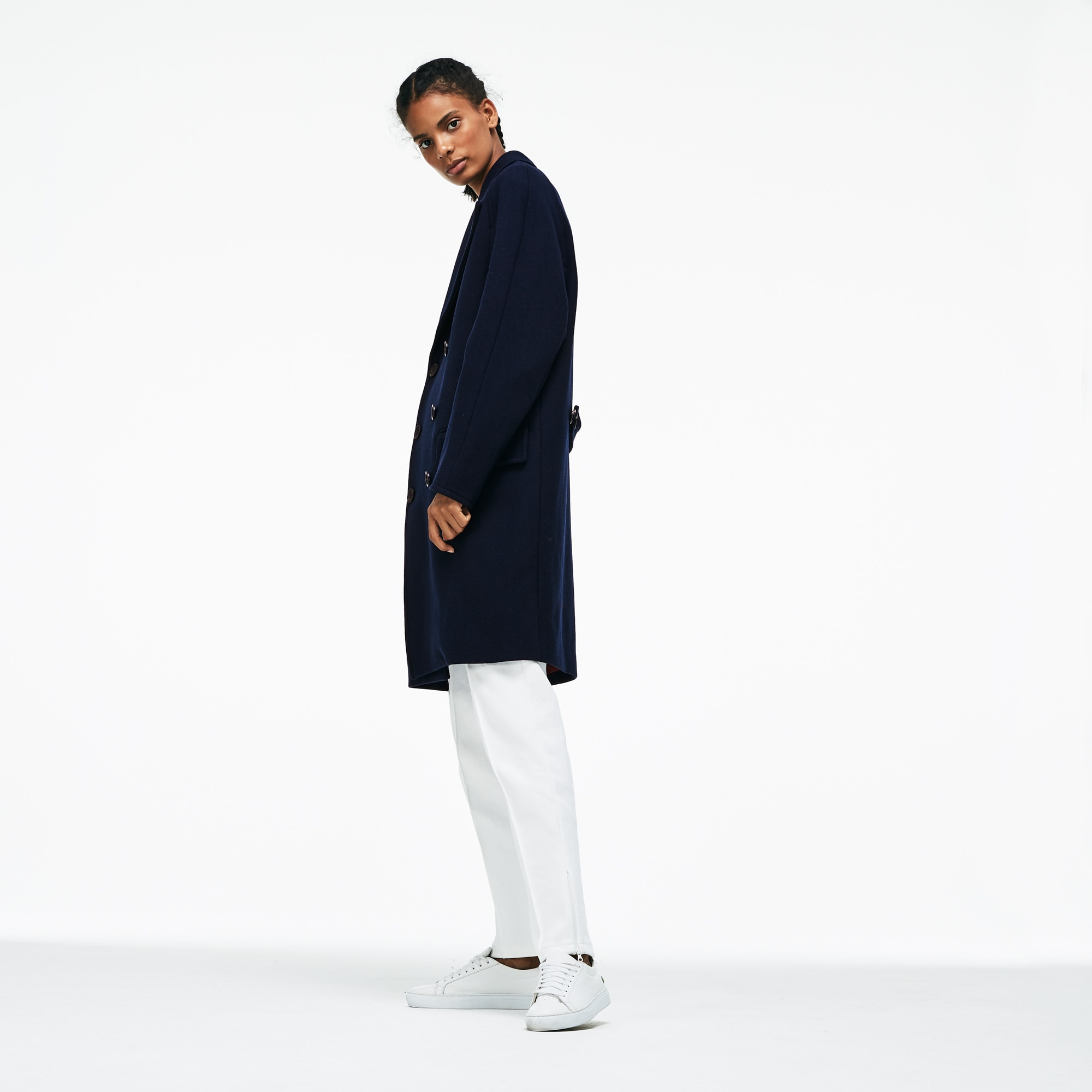 Unisex Lacoste LIVE Wool Broadcloth Buttoned Pea Coat