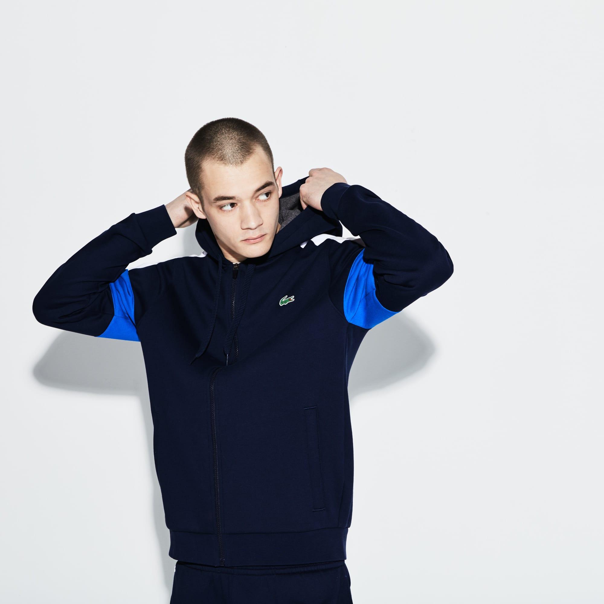 Men s Lacoste SPORT Colorblock Fleece Zippered Tennis Sweatshirt d0bba5ad251
