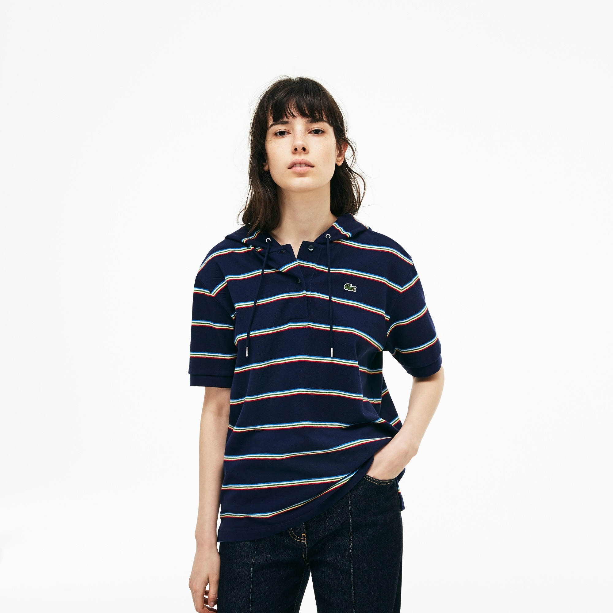 Women's Lacoste Hooded Cotton Piqué Polo Shirt