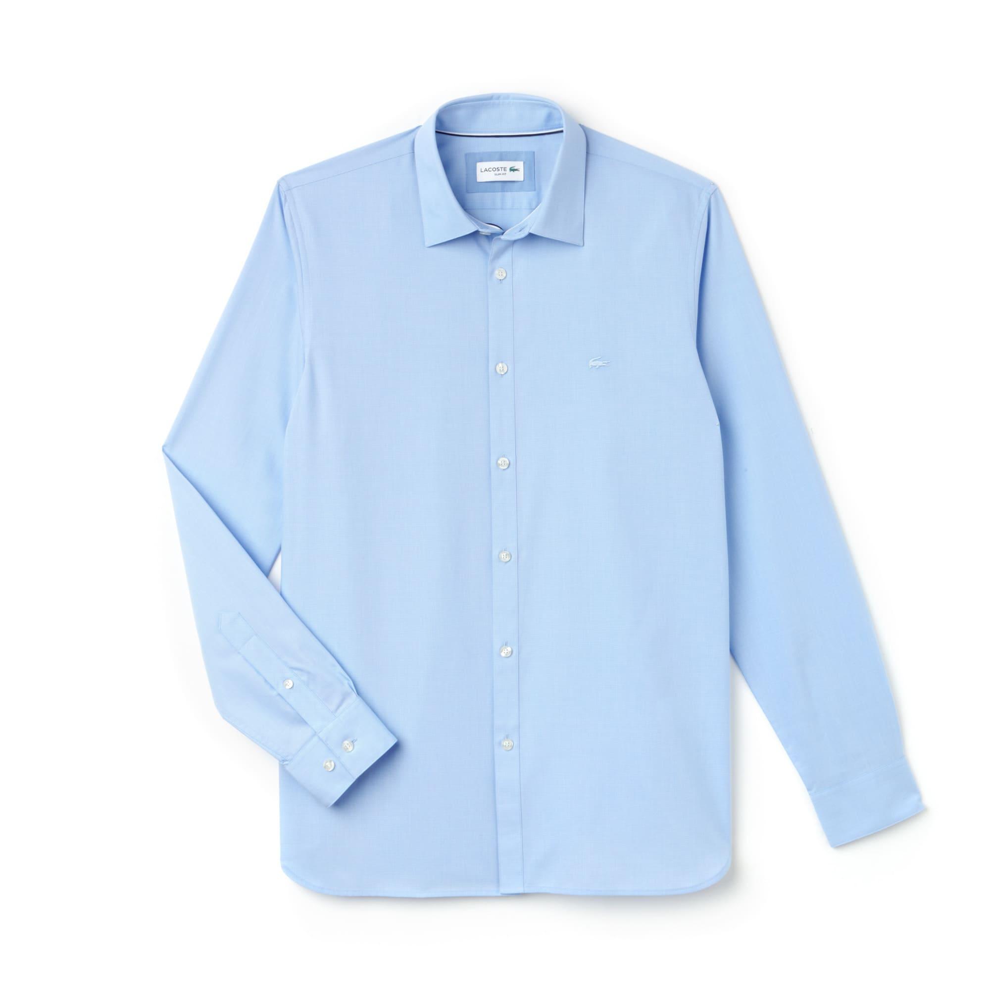 Men's Slim Fit Striped Jacquard Poplin Shirt