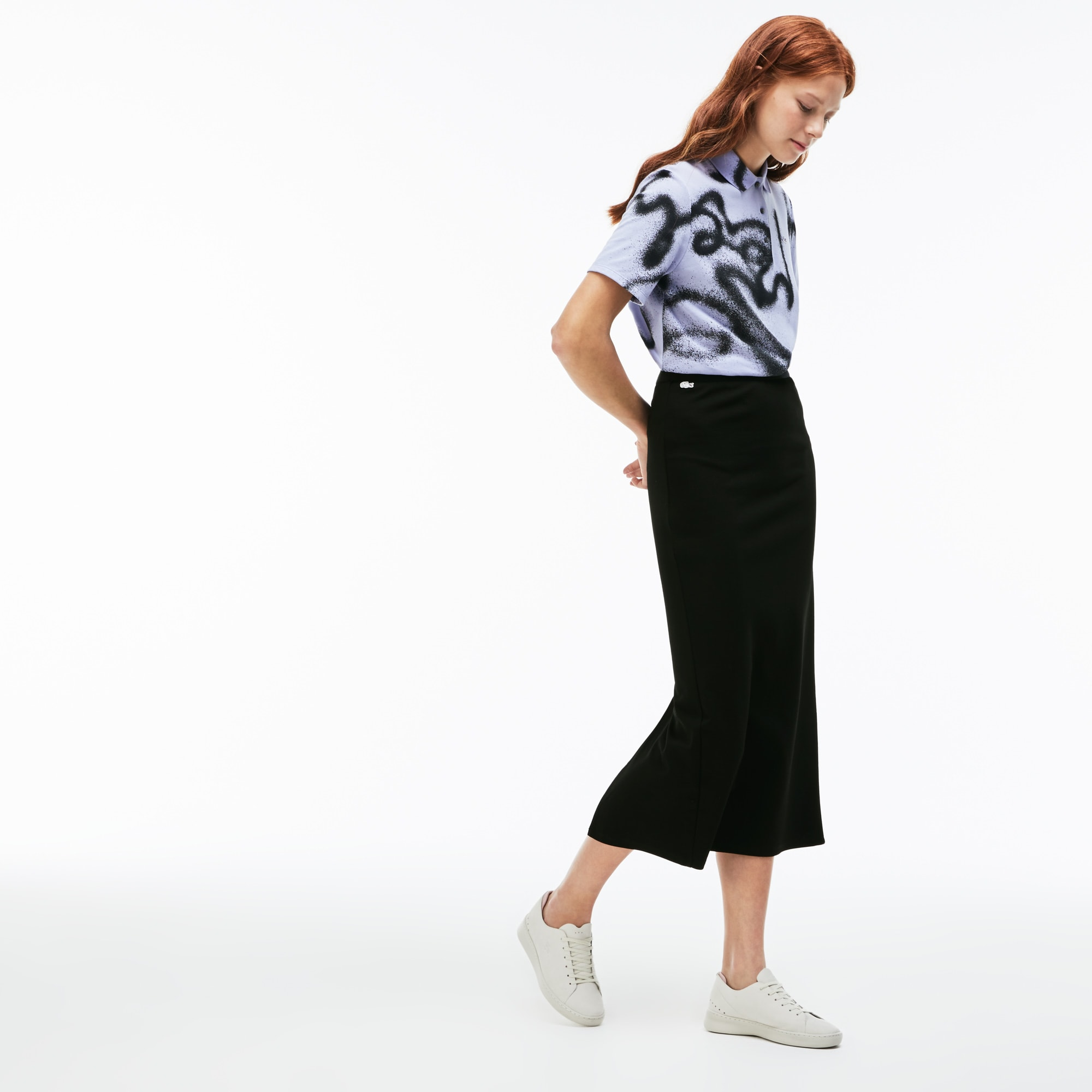 Women's Lacoste LIVE Contrast Bands Technical Jersey Long Skirt