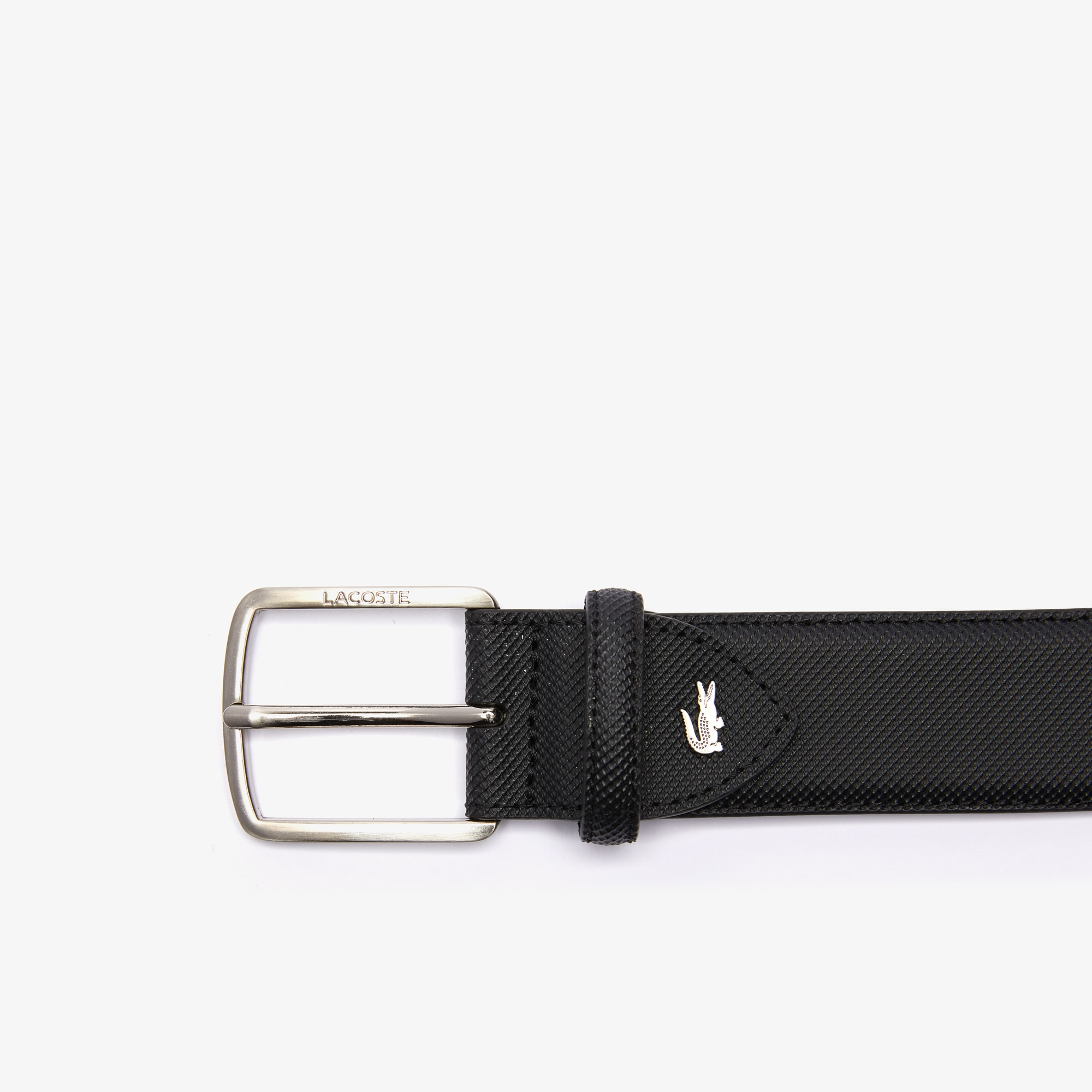 Men's Lacoste Engraved Buckle Piqué Canvas Belt