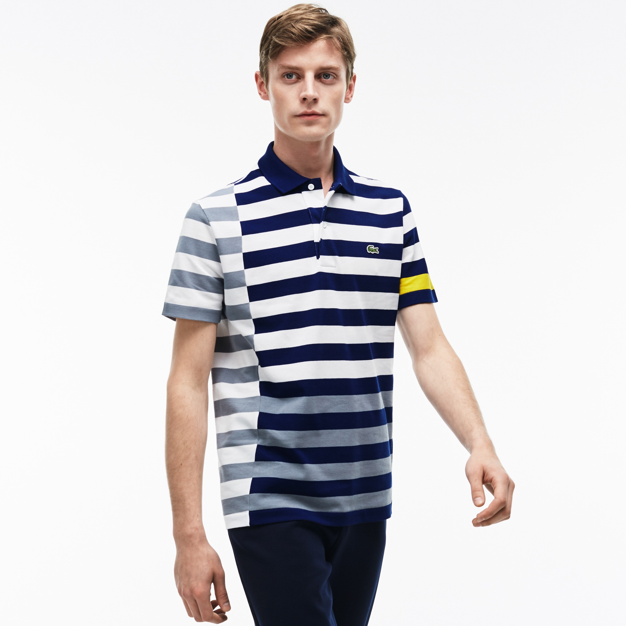 Men's Lacoste Regular Fit Colorful Off-center Stripes Polo