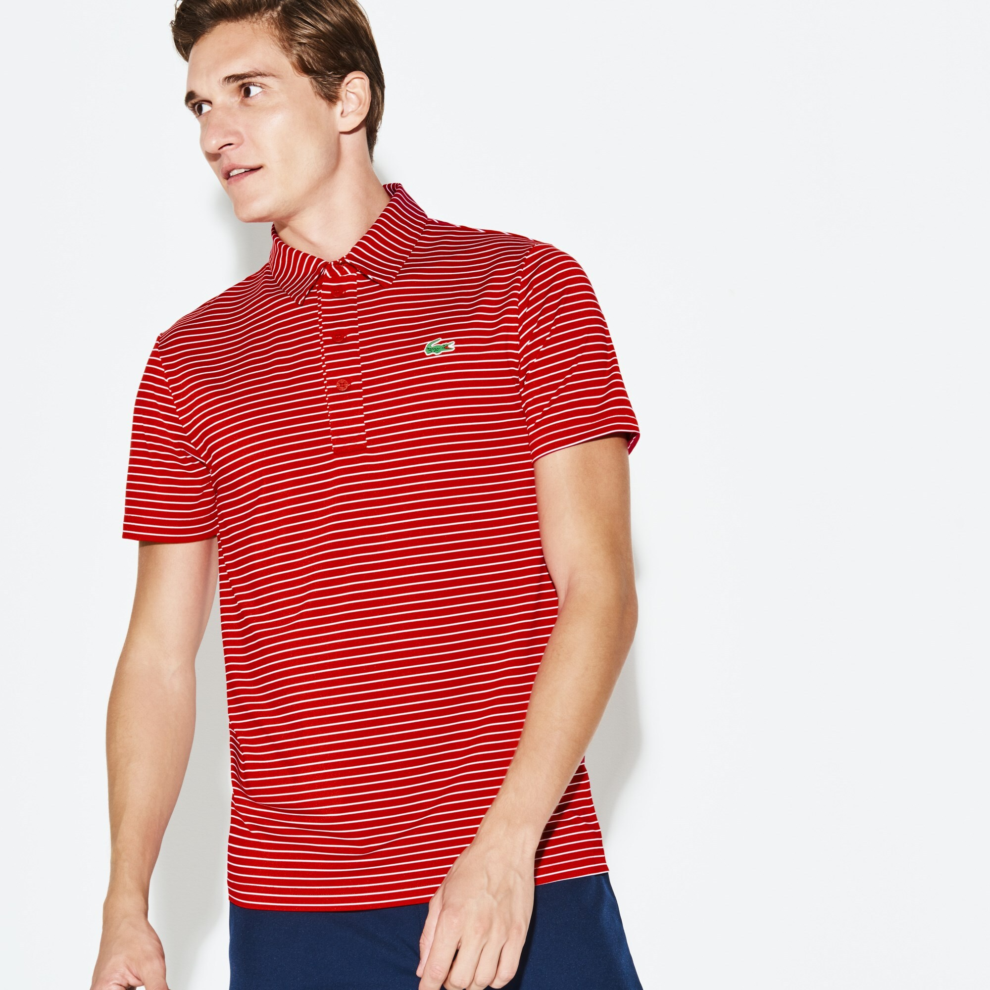 Men's Lacoste SPORT Striped Stretch Technical Jersey Golf Polo