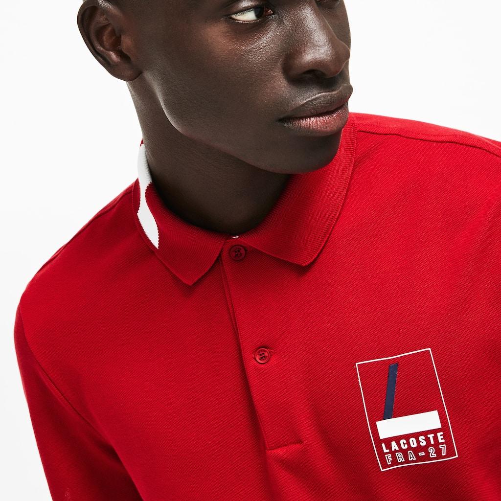 Mens Lacoste Slim Fit Lettering Stretch Mini Piqu Polo Shirt Lacoste