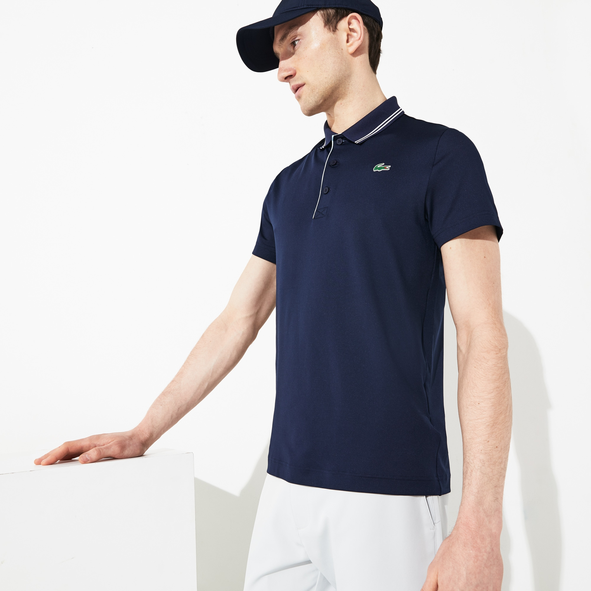 5b9af1dc Men's Lacoste SPORT Lettering Stretch Technical Jersey Golf Polo ...