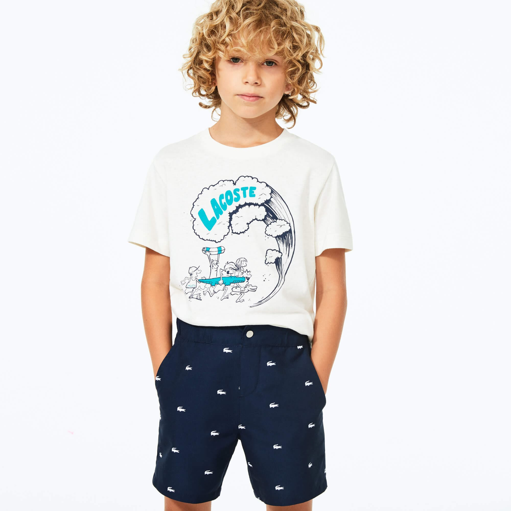 Boys' Crocodile Embroidered Light Swim Shorts