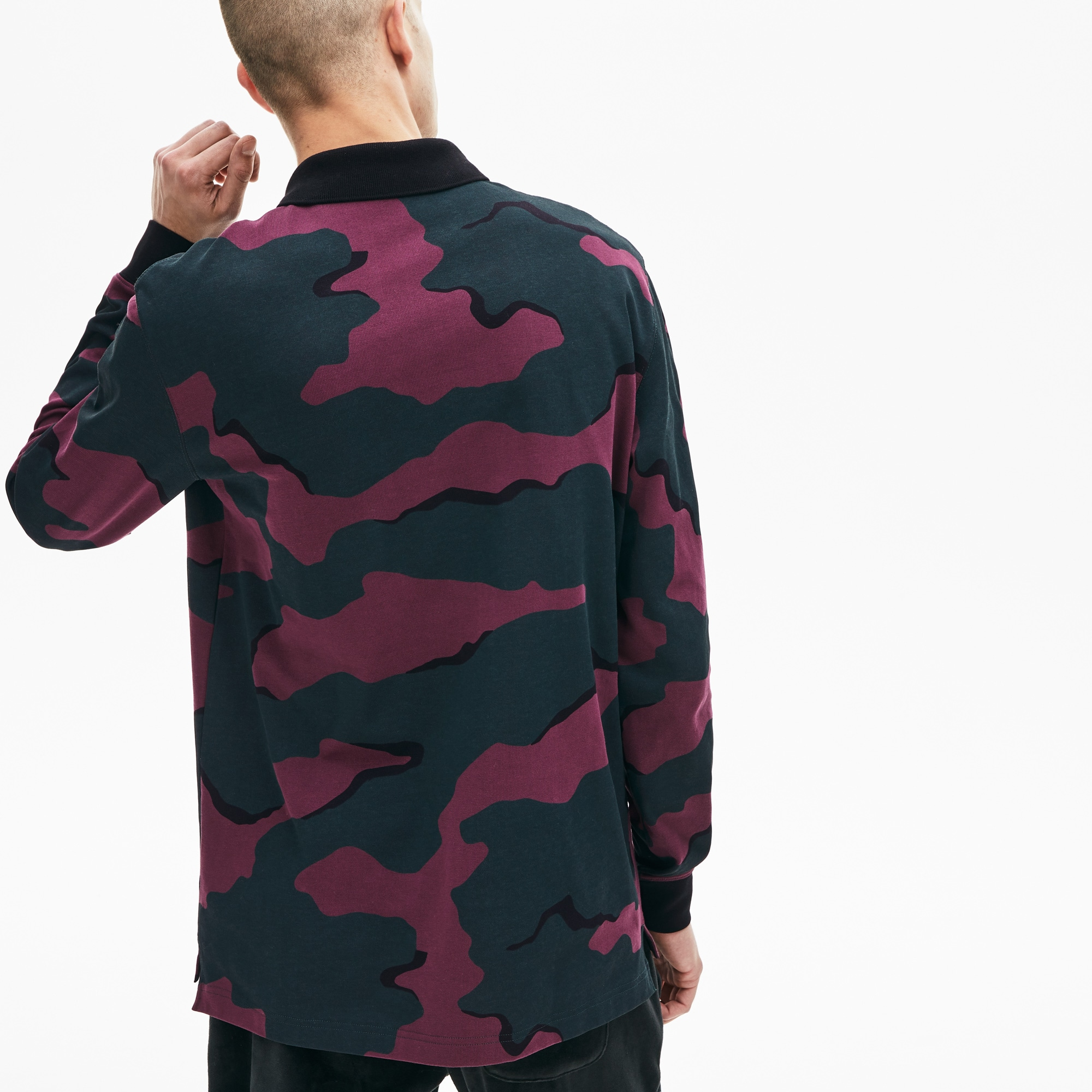 Men's Lacoste LIVE Loose Fit Camouflage Cotton Polo Shirt