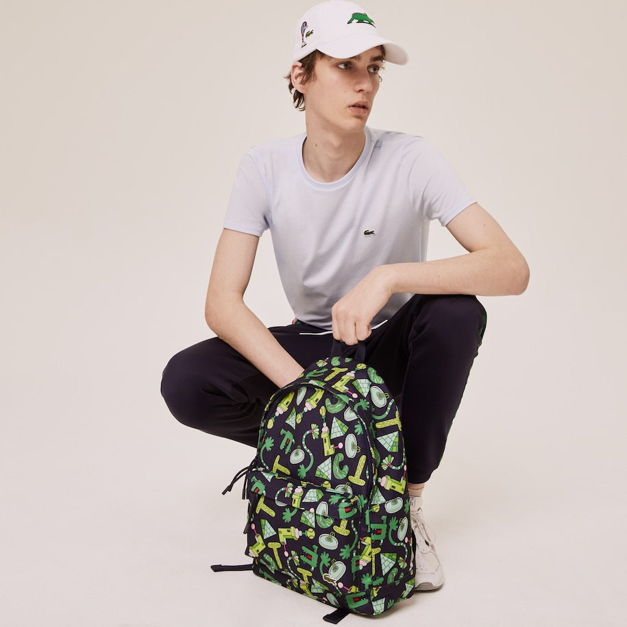 Men's Lacoste x Jeremyville Printed Canvas Zippered Backpack