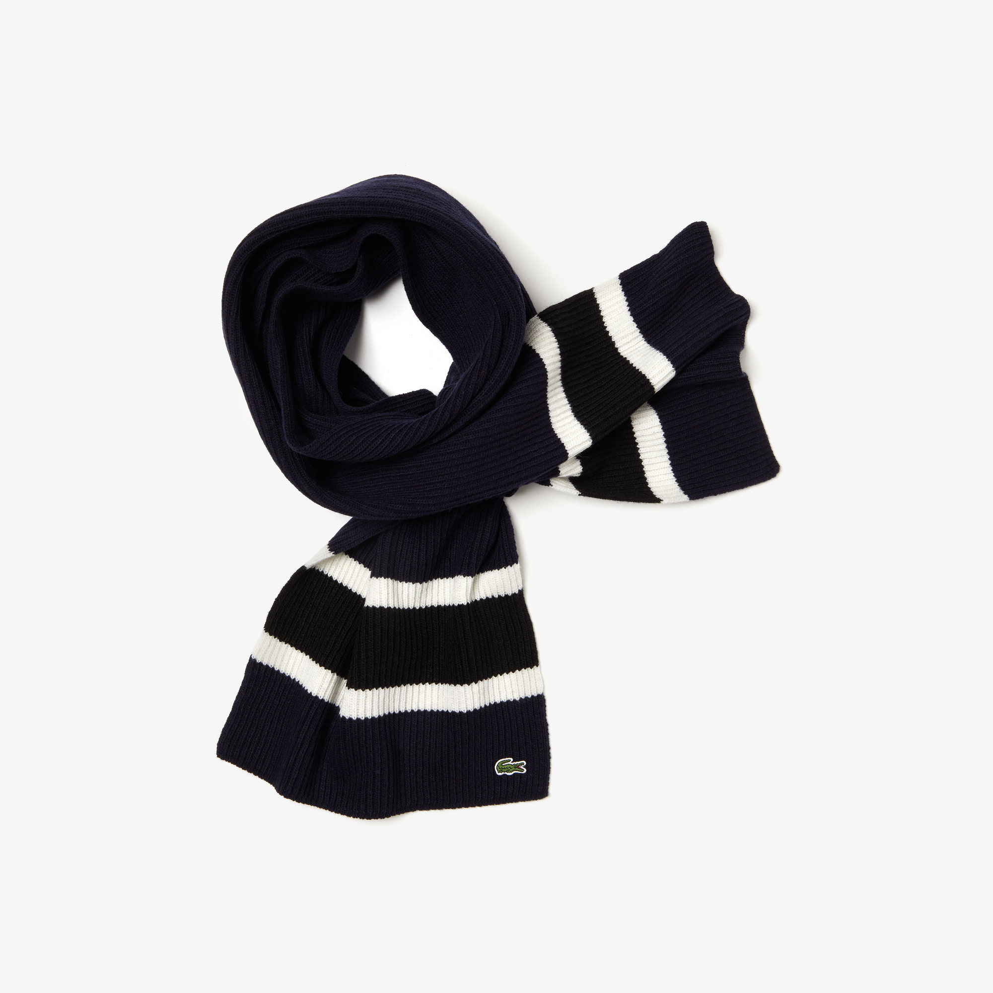 Men's Contrast Striped Ribbed Wool Scarf