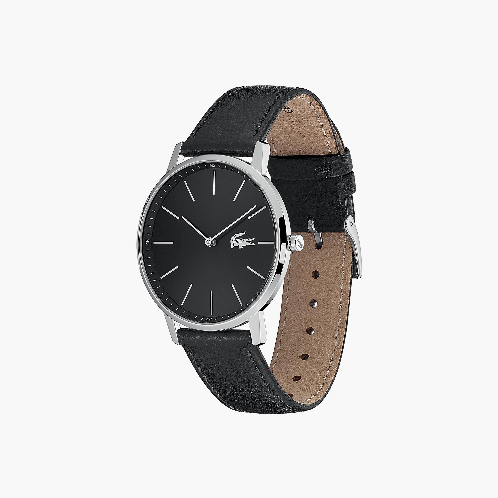 Gents Moon Watch With Black Leather Strap