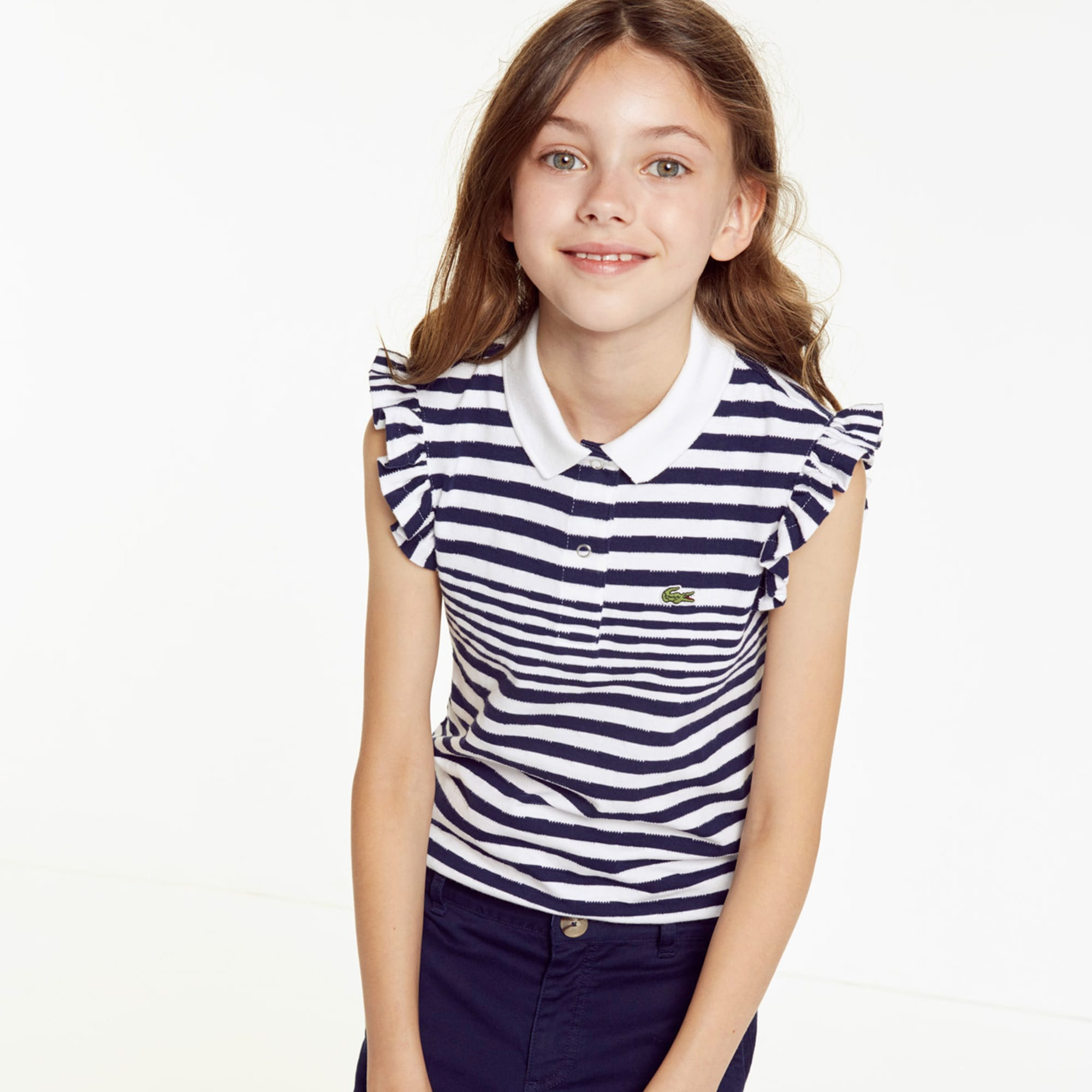 a05dd31cd Girls  Lacoste Flounced Sleeved Striped Cotton Polo Shirt