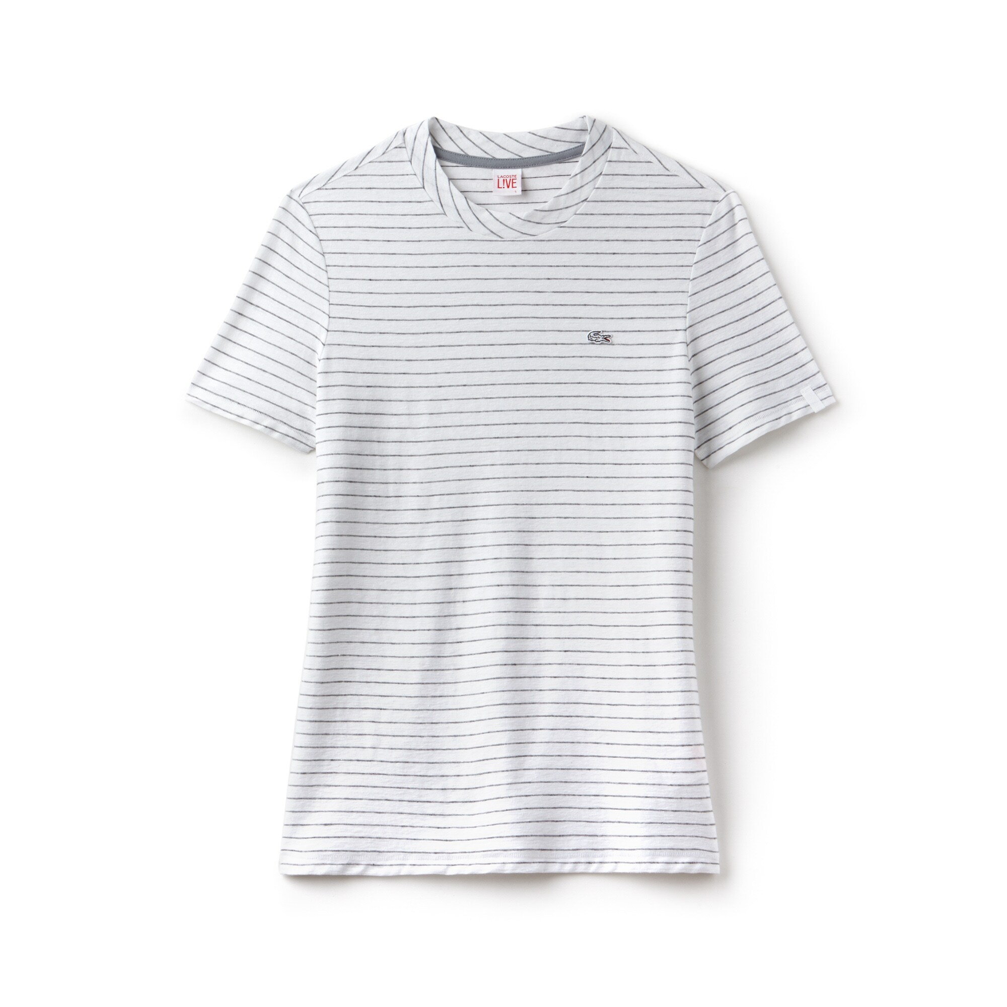 Women's Lacoste LIVE Crew Neck Striped Cotton And Linen T-shirt