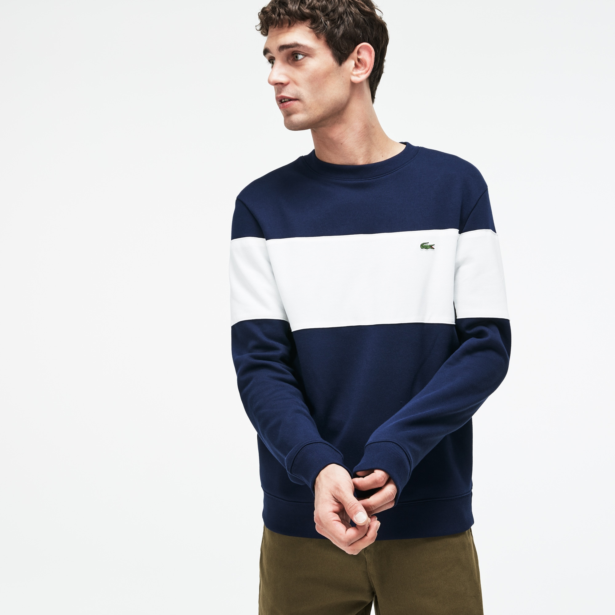 Men's Crew Neck Colorblock Cotton Fleece Sweatshirt