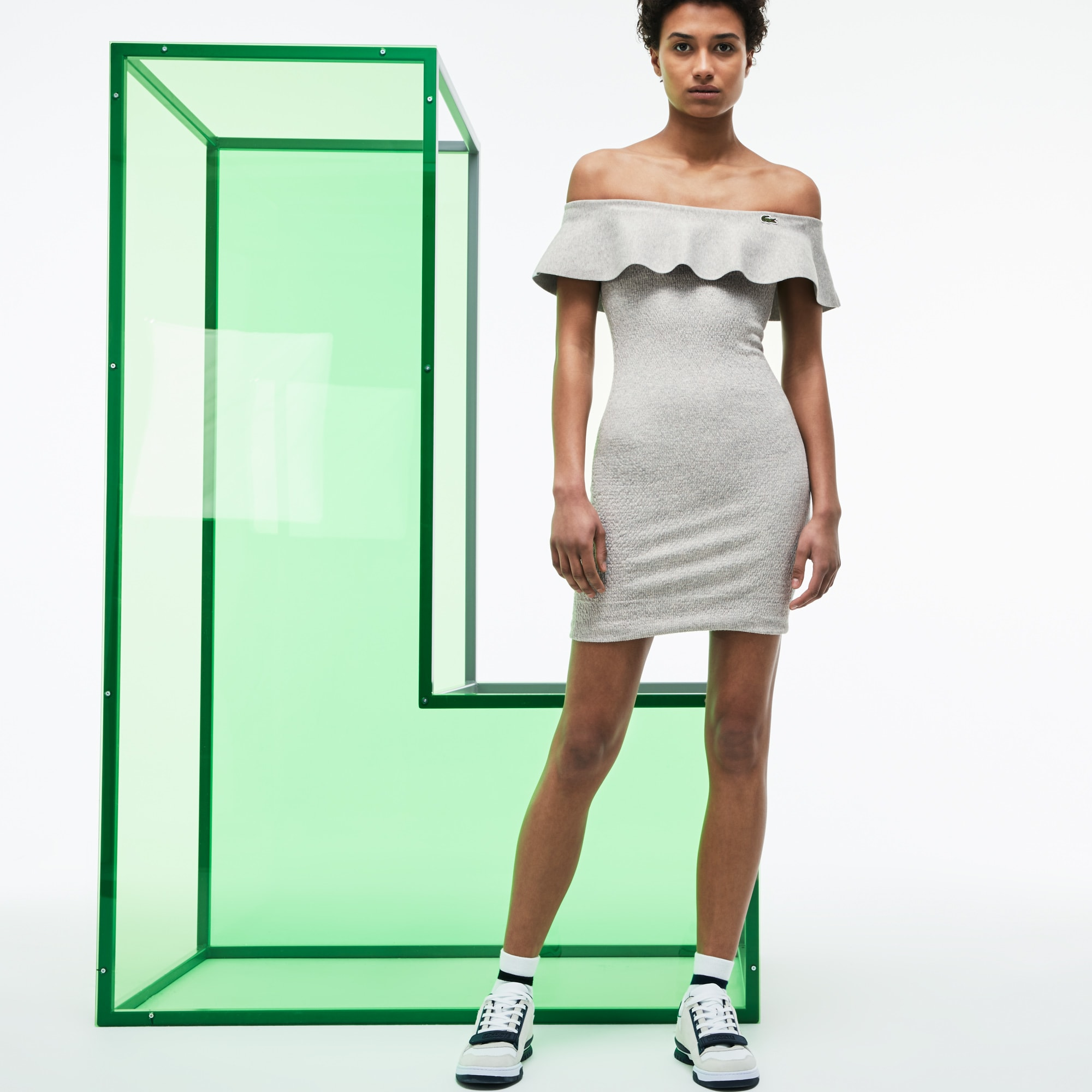 Women's Fashion Show Cotton Knit Flounced Bustier Dress