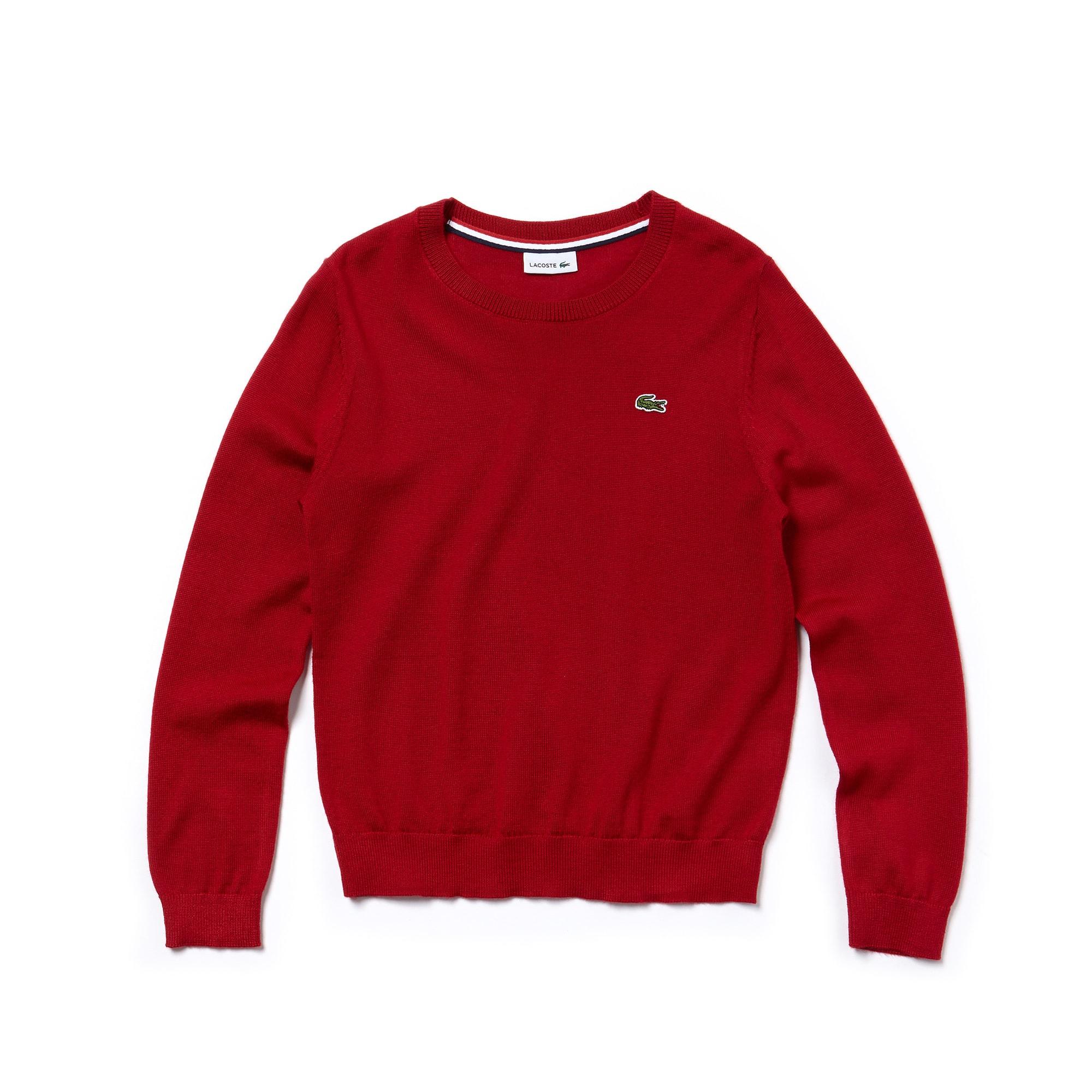 Boys' Crew Neck Wool Blend Jersey Sweater
