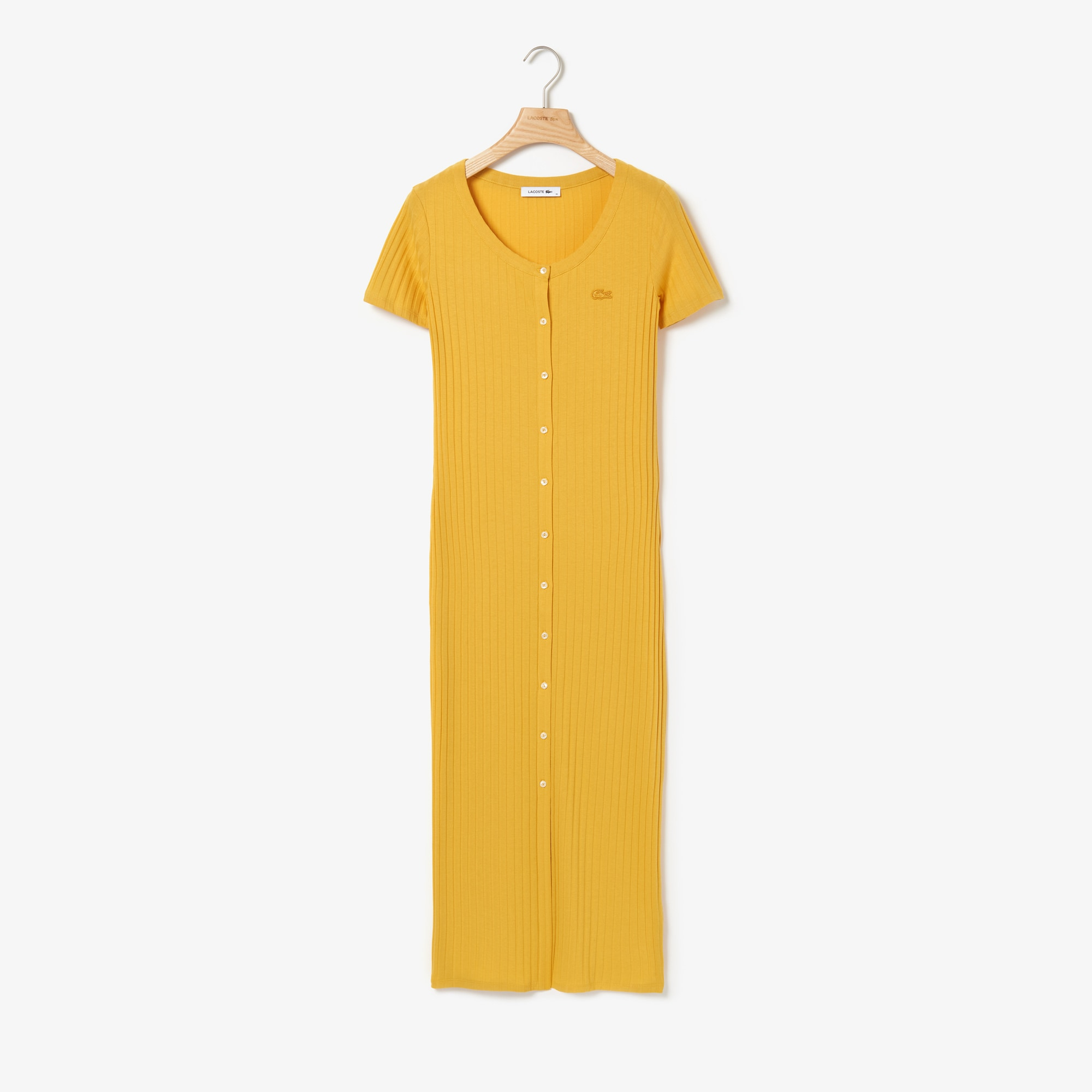 Women's Long Buttoned Ribbed Dress