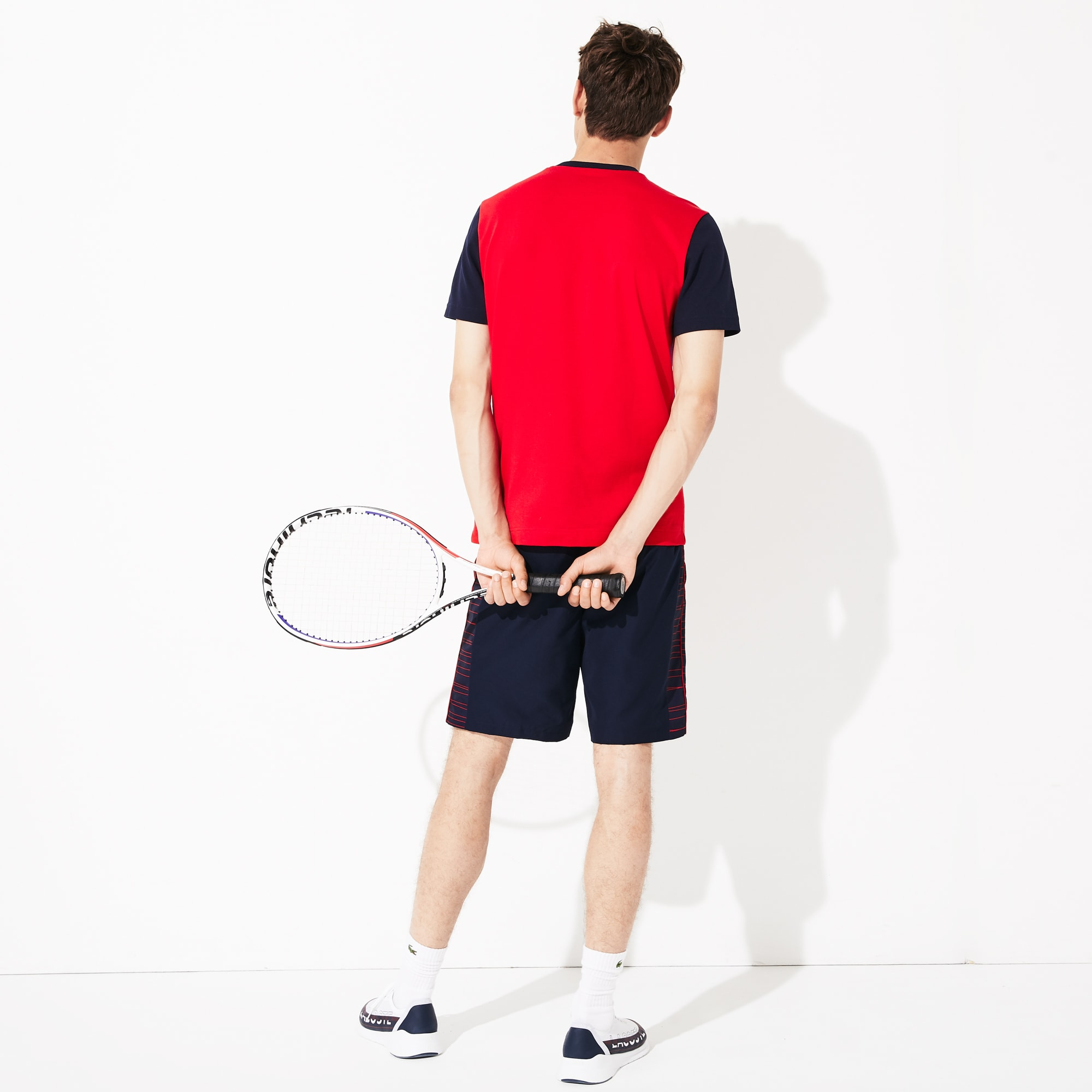 Men's Lacoste SPORT Ultra-Light Colourblock Cotton Tennis T-shirt