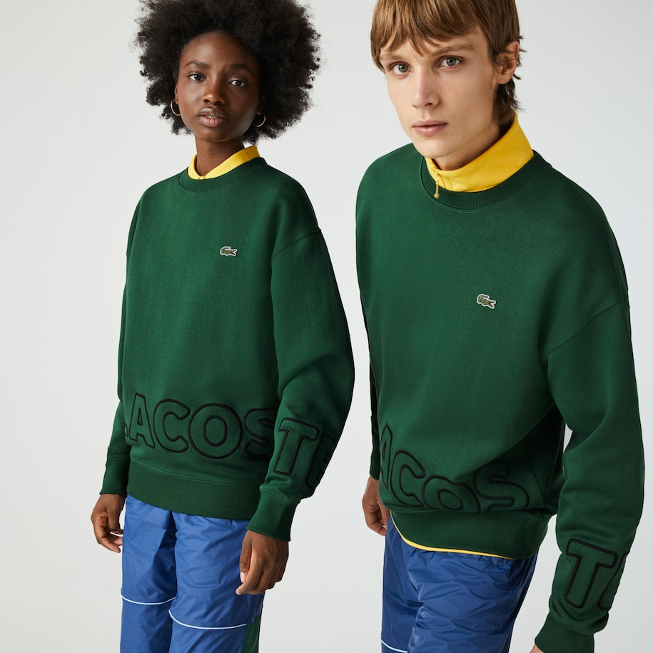 Unisex Lacoste LIVE Loose Fit Embroidered Cotton Blend Sweatshirt