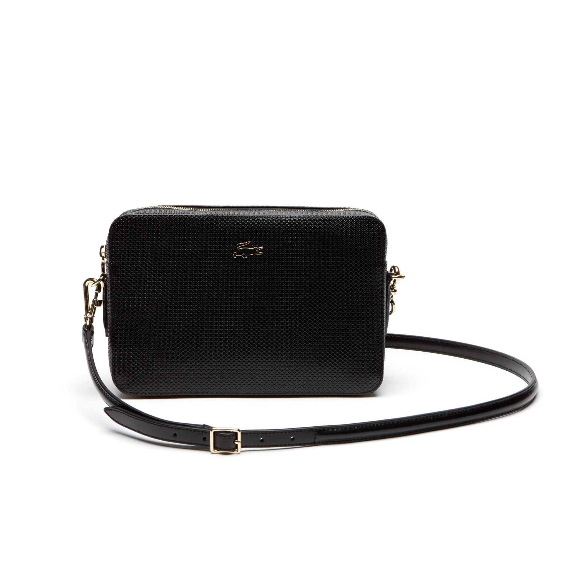 cb4e5634b565 Women s Chantaco Piqué Leather Square Crossover Bag. Colour   BLACK