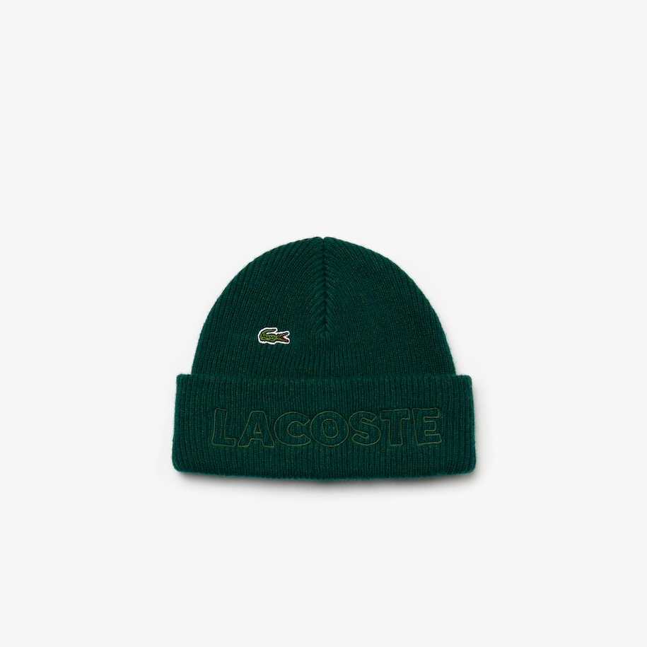 Unisex Lacoste LIVE Embroidered Wool Blend Beanie