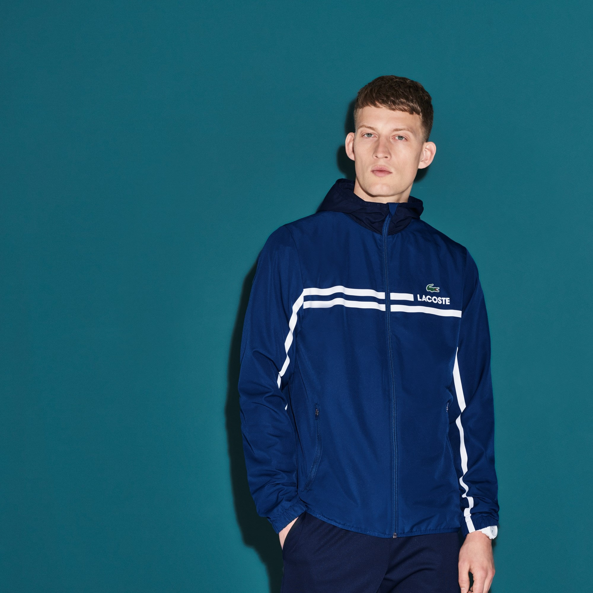 Men's Lacoste SPORT Hooded Taffeta And Mesh Tennis Jacket
