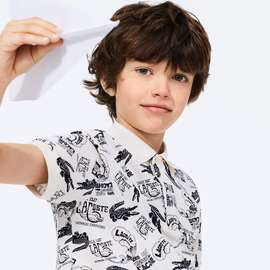 Boys' Heritage Print Cotton Piqué Polo Shirt