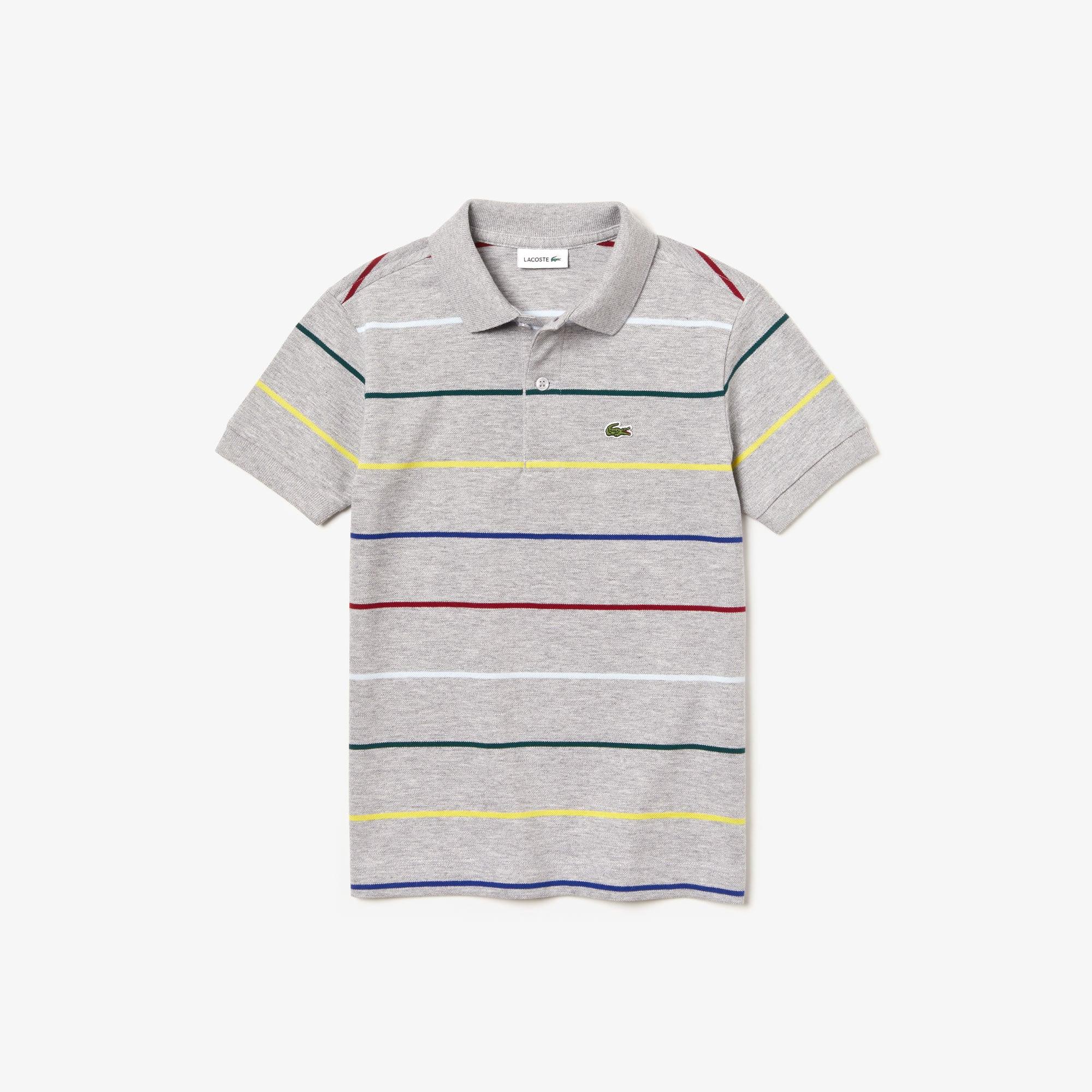 f412f209 Boys' Lacoste Coloured Pinstripes Cotton Piqué Polo Shirt   LACOSTE