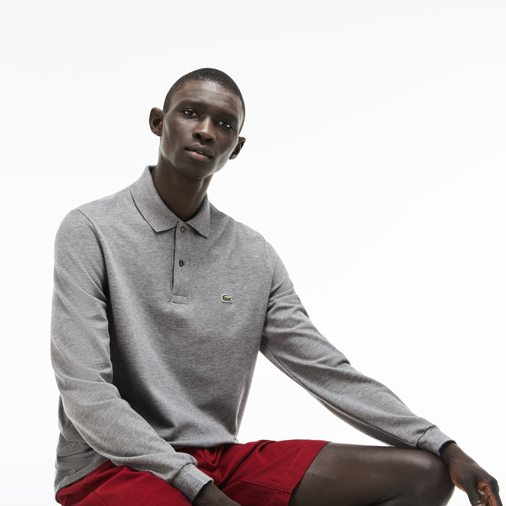 Lacoste classic fit long-sleeve Polo Shirt in marl petit piqué