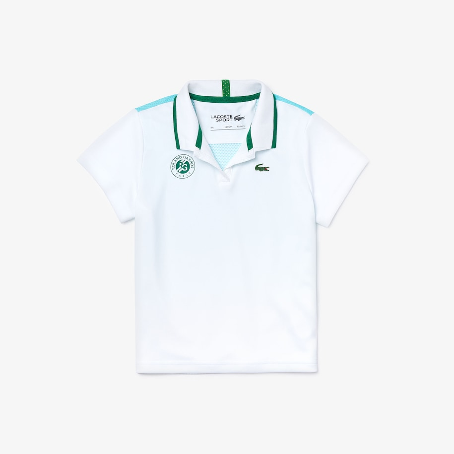 Girls' Lacoste SPORT Roland Garros V-Neck Polo Shirt