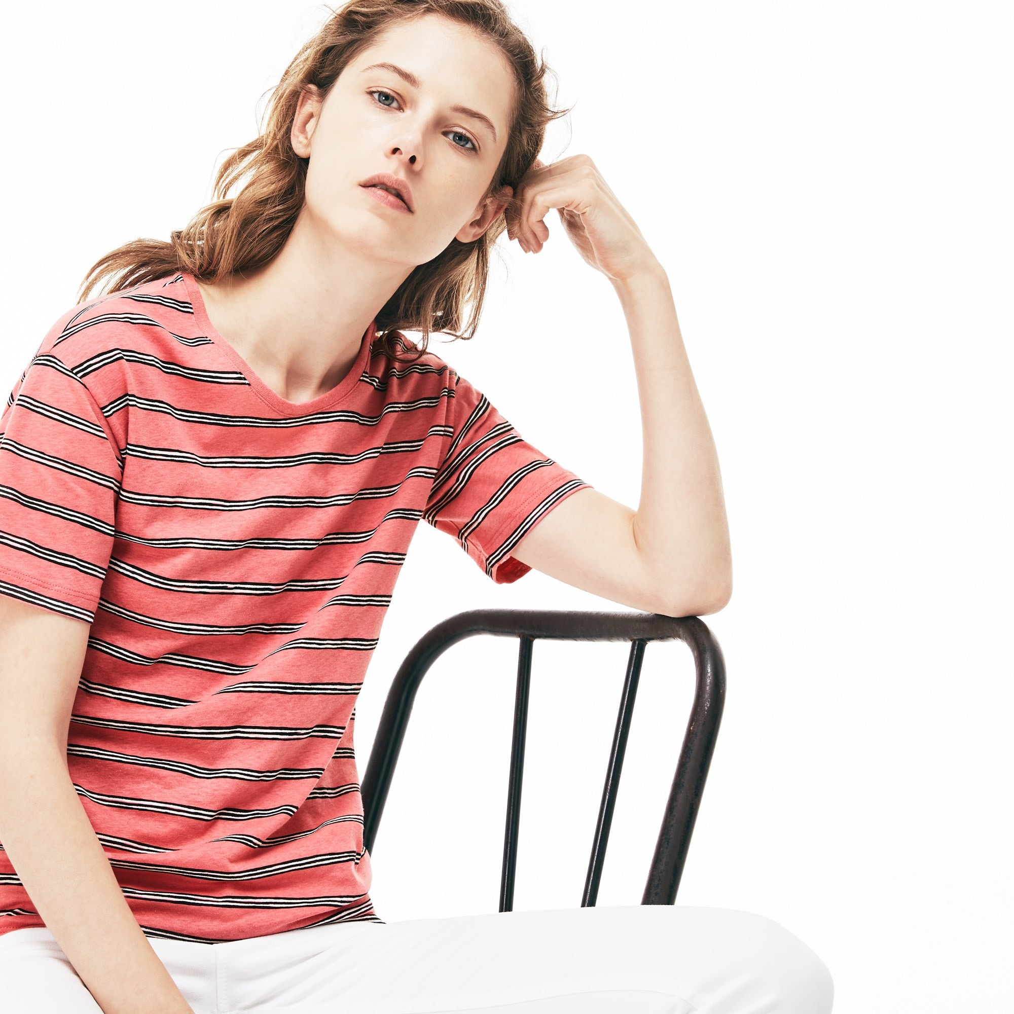 Women's Wide Neck Striped Cotton And Linen Jersey T-shirt