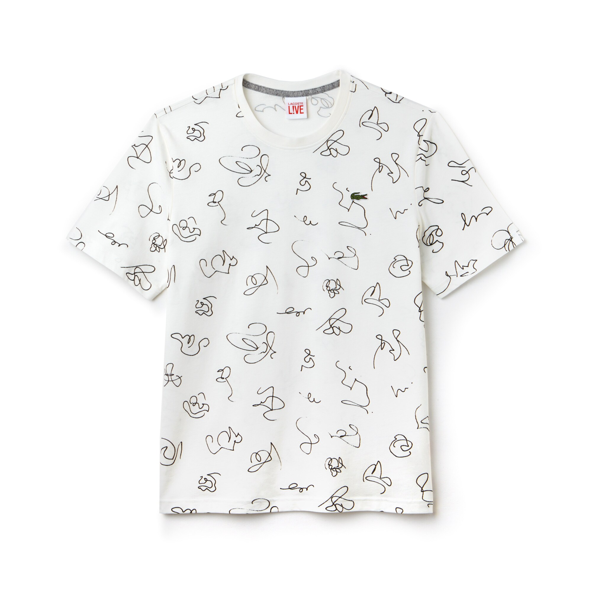 Men's Lacoste LIVE Crew Neck Doodle Print Cotton Jersey T-shirt