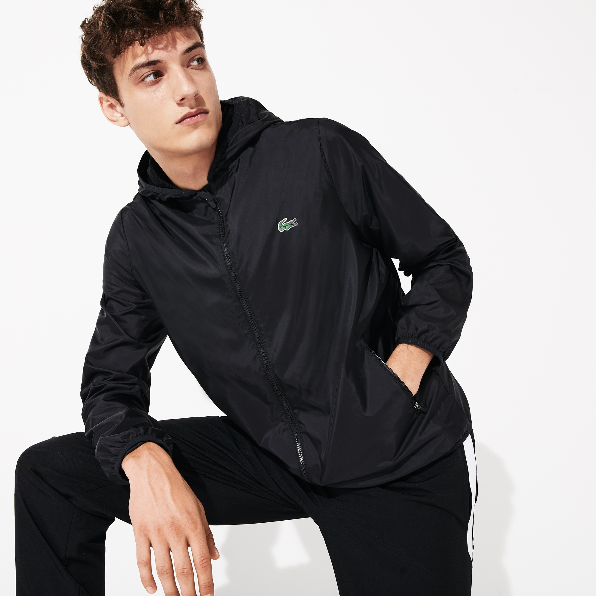 Men's Lacoste SPORT Hooded Lightweight Water-Resistant Zip Windbreaker