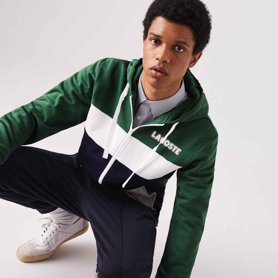 Men's Lacoste SPORT Colourblock Fleece Zip Sweatshirt