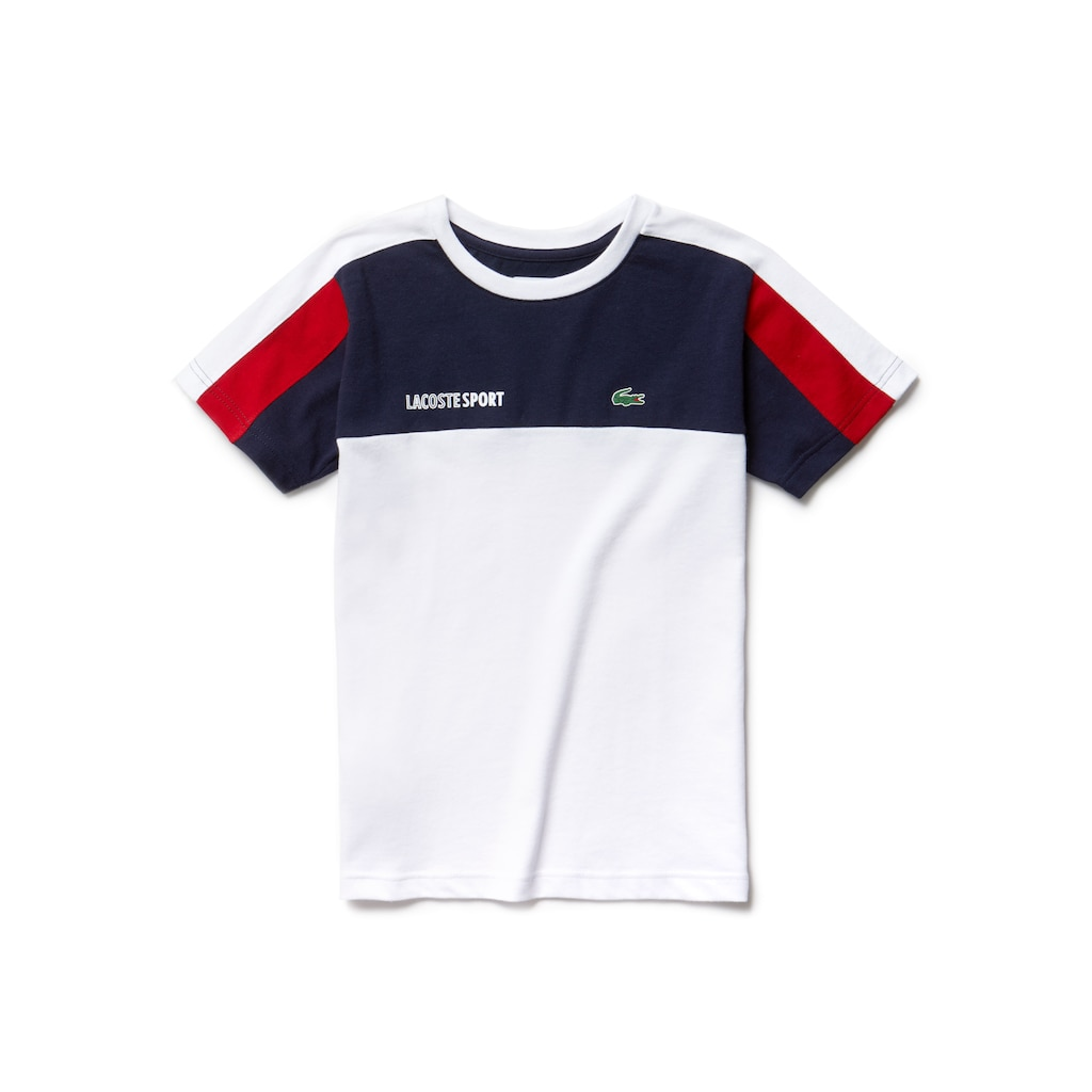 0a1d3da8ee8636 Boys  Lacoste SPORT Crew Neck Colourblock Jersey Tennis T-shirt ...